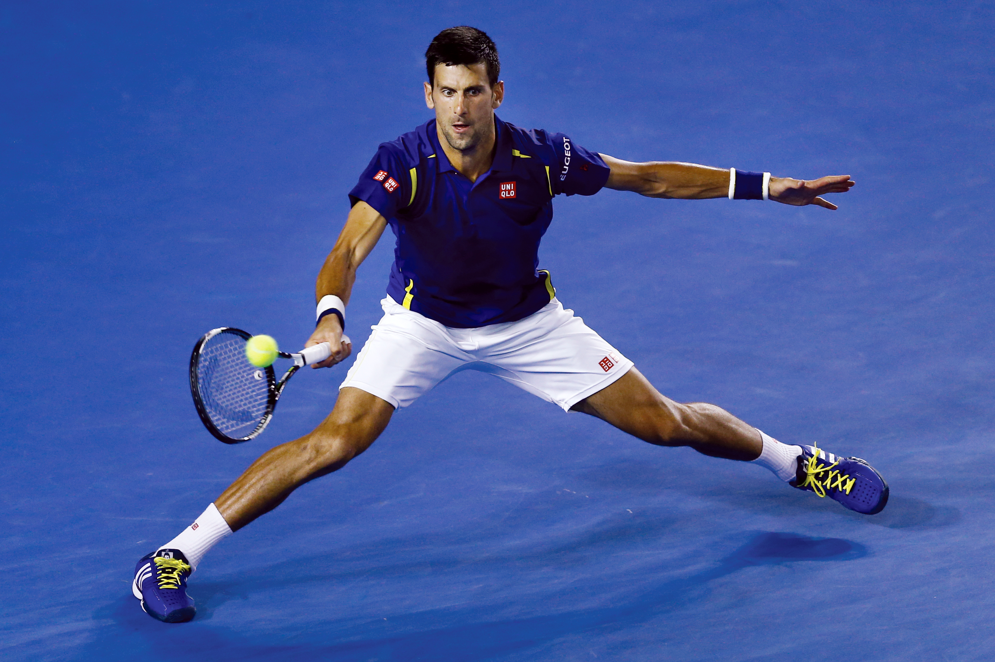 Novak Djokovic of Serbia plays a forehand return to Kei Nishikori of Japan during their quarterfinal match at the Australian Open tennis championships in Melbourne, Australia, Tuesday, Jan. 26, 2016.(AP Photo/Rafiq Maqbool)