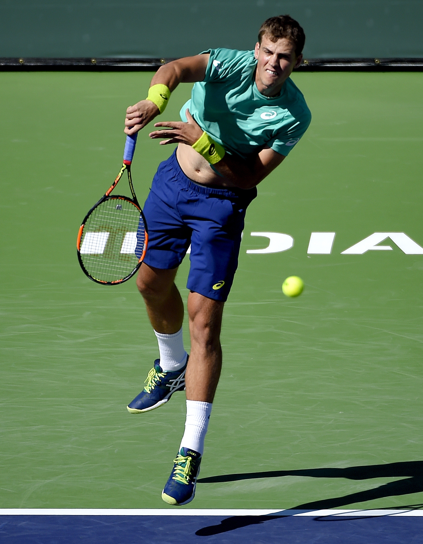 Vasek Pospisil, of Canada, serves against Jared Donaldson  during their match at the BNP Paribas Open tennis tournament, Friday, March 11, 2016, in Indian Wells, Calif. (AP Photo/Mark J. Terrill)