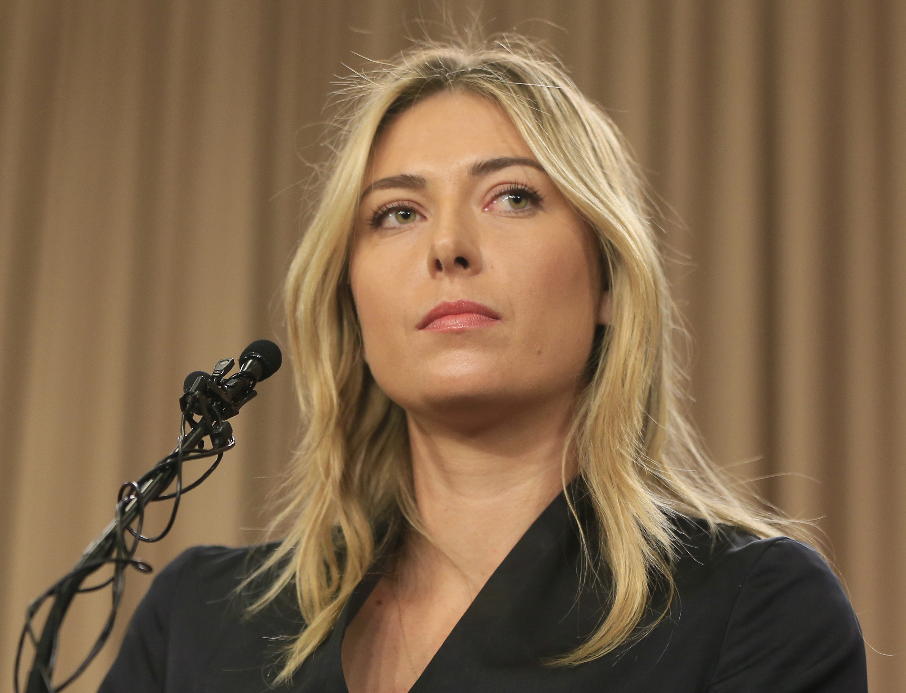 FILE - This is a Monday, March 7, 2016 file photo of tennis star Maria Sharapova as she speaks during a news conference in Los Angeles. Sharapova says she has failed a drug test at the Australian Open. In his first six months as president of the Internati