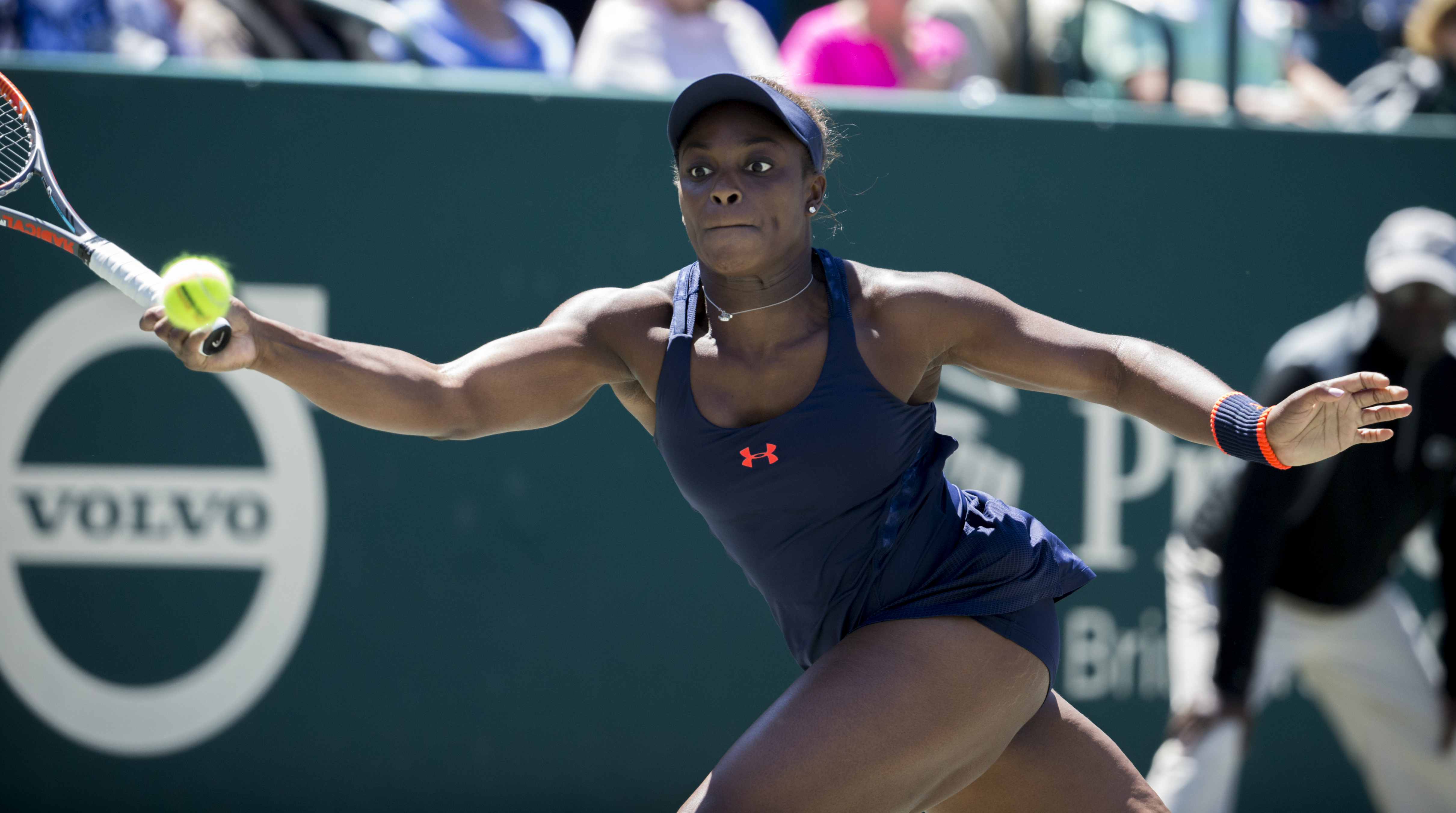 Sloane Stephens hits the ball against Angelique Kerber of Germany, during their semifinal tennis match at the Volvo Car Open in Charleston, S.C., Saturday, April 9, 2016. Kerber retired in the second set. (AP Photo/Stephen B. Morton)