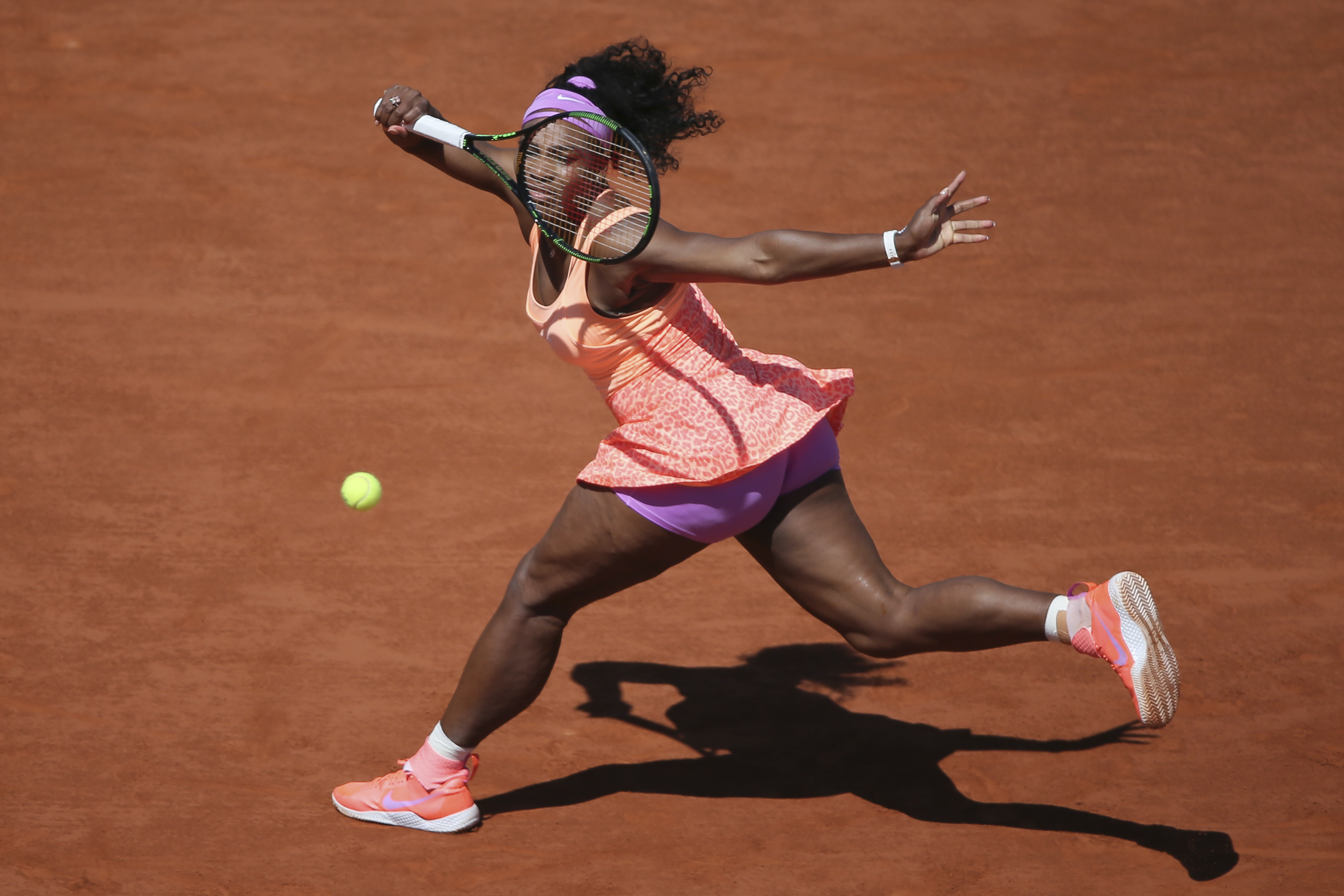 FILE - In this June 6, 2015, file photo, Serena Williams returns in the final of the French Open tennis tournament against Lucie Safarova of the Czech Republic at Roland Garros stadium, in Paris, France. The French Open begins on Sunday, May 22, 2016. (AP