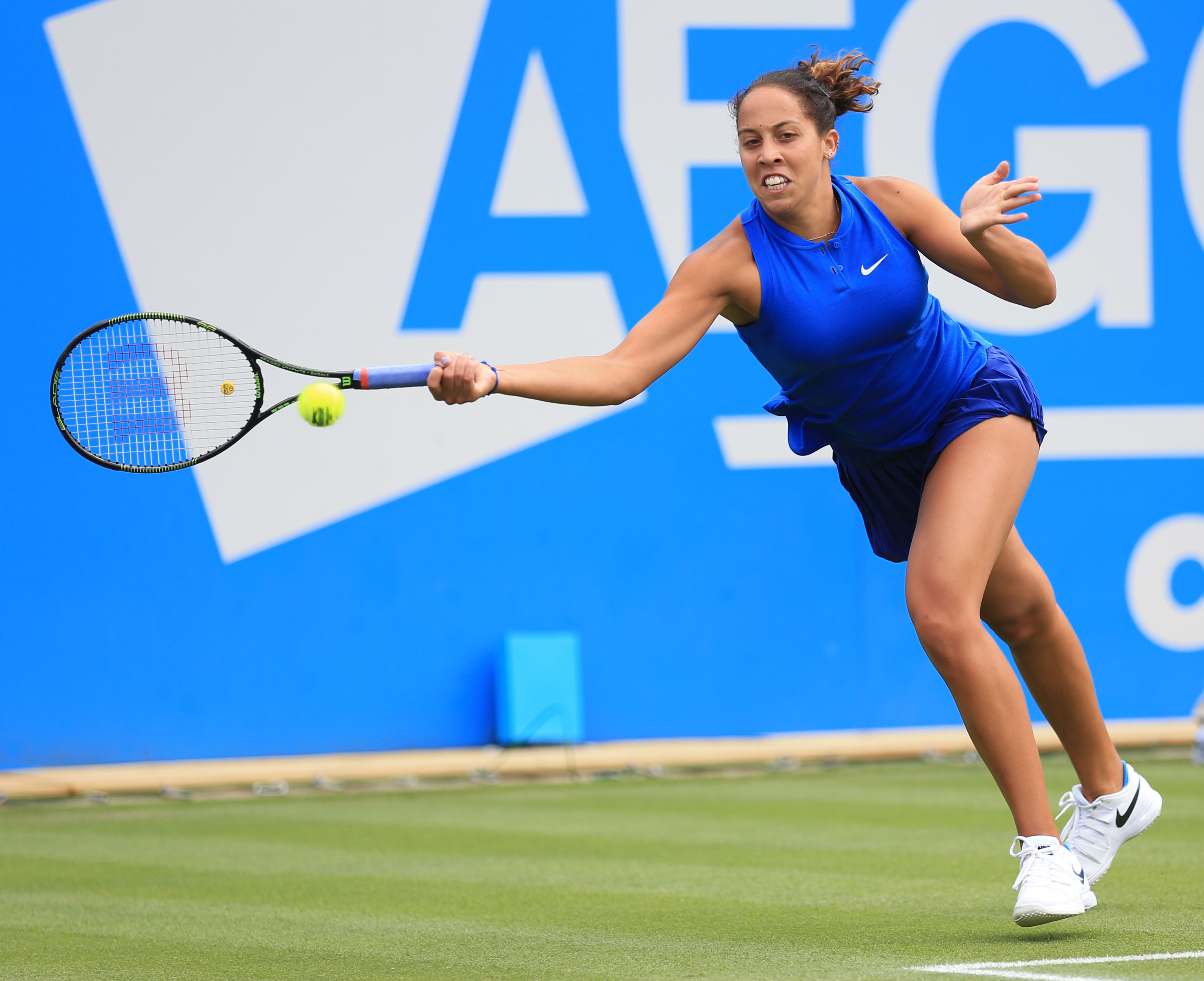 Madison Keys of the US   plays a return to Hungary's Timea Babos  during day one of the Birmingham Classic tennis tournament at the Edgbaston Priory, Birmingham central England  Monday June 13, 2016. (Nigel French/PA via AP) UNITED KINGDOM OUT  NO SALES N