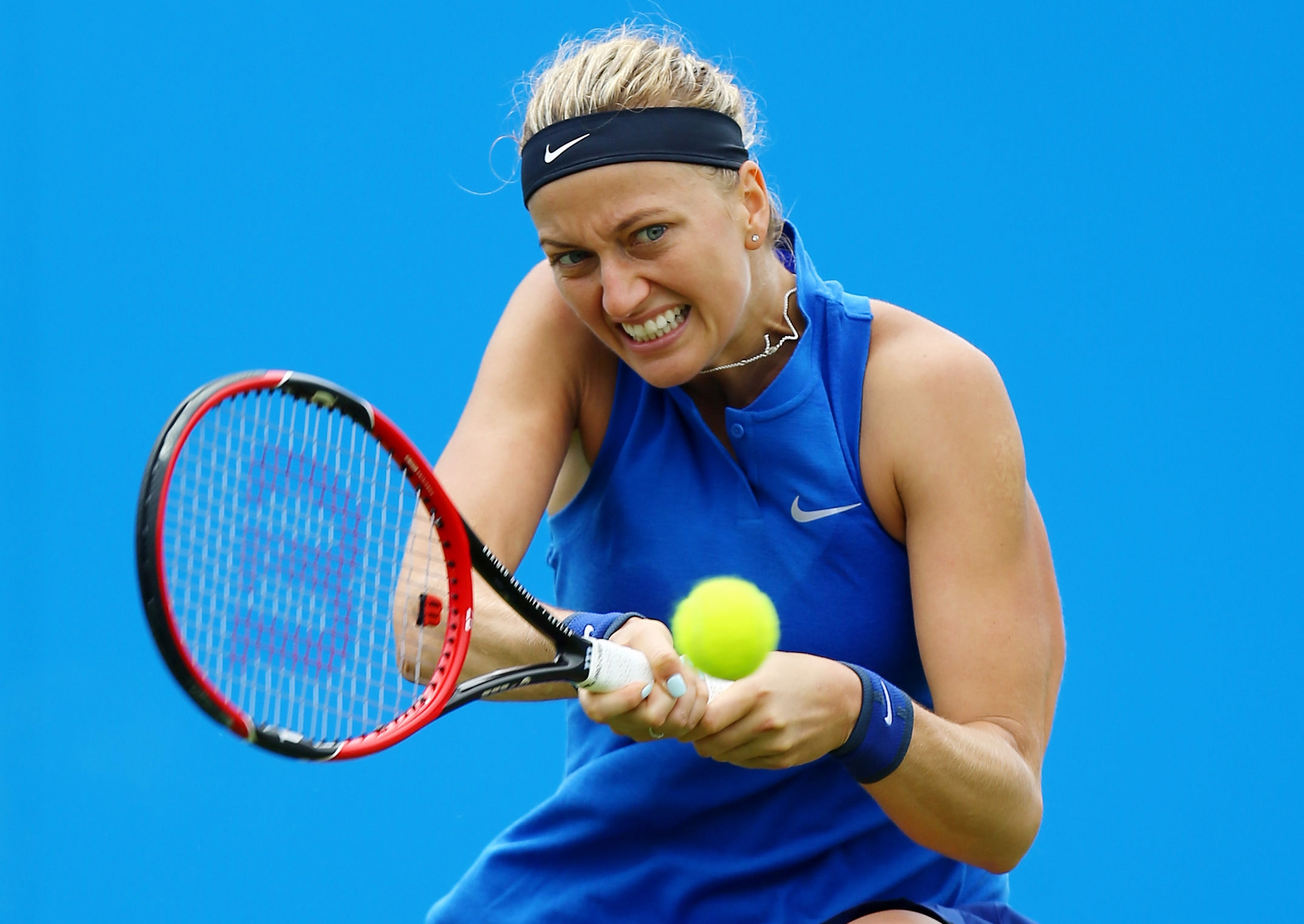 CAPTION CORRECTS THE MONTH - Czech Republic's Petra Kvitova returns the ball to Hungary's Timea Babos during day two of the 2016 Eastbourne International women's tennis tournament at Devonshire Park, Eastbourne, England, Tuesday, June 21, 2016. (Gareth Fu