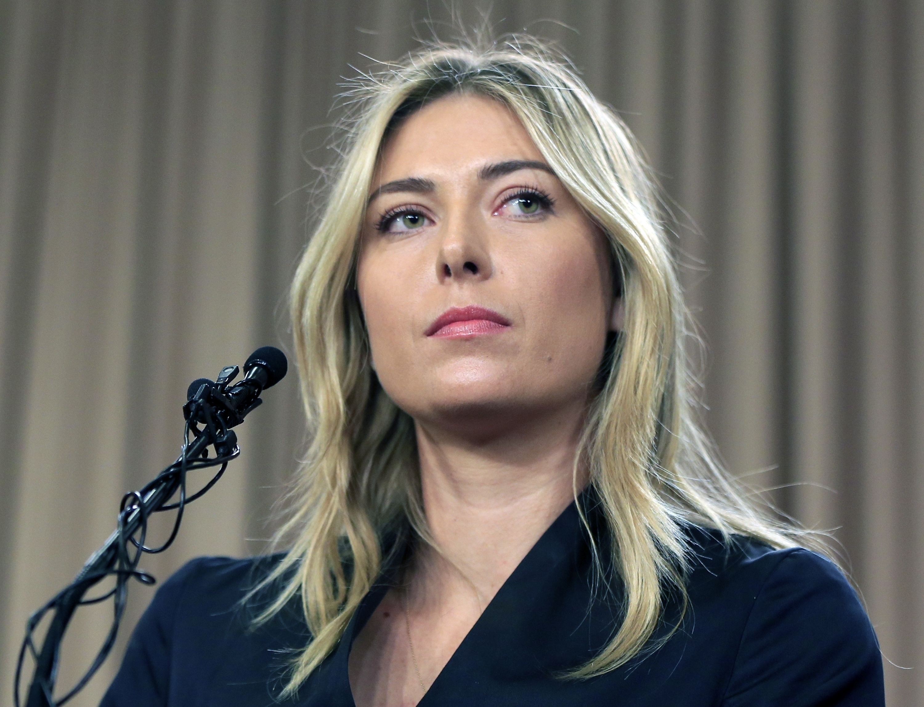 FILE - This is a Monday, March 7, 2016 file photo showing tennis star Maria Sharapova speakings about her failed drug test at the Australia Open during a news conference in Los Angeles. Sharapova says she's headed to Harvard Business School while she serv