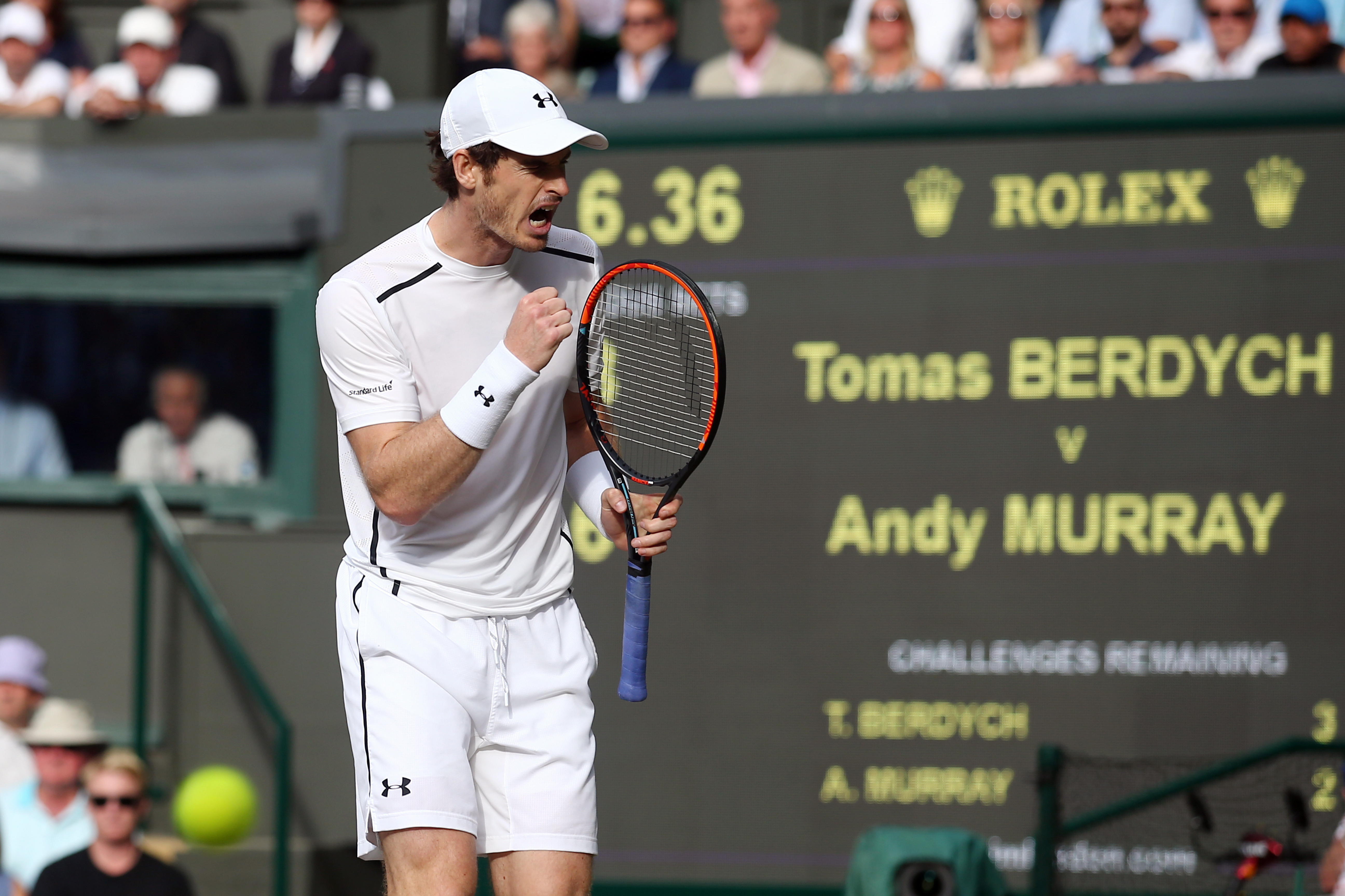 Andy Murray of Britain celebrates after beating Tomas Berdych of the Czech Republic in their men's semifinal singles match on day twelve of the Wimbledon Tennis Championships in London, Friday, July 8, 2016. (Justin Tallis/Pool Photo via AP)