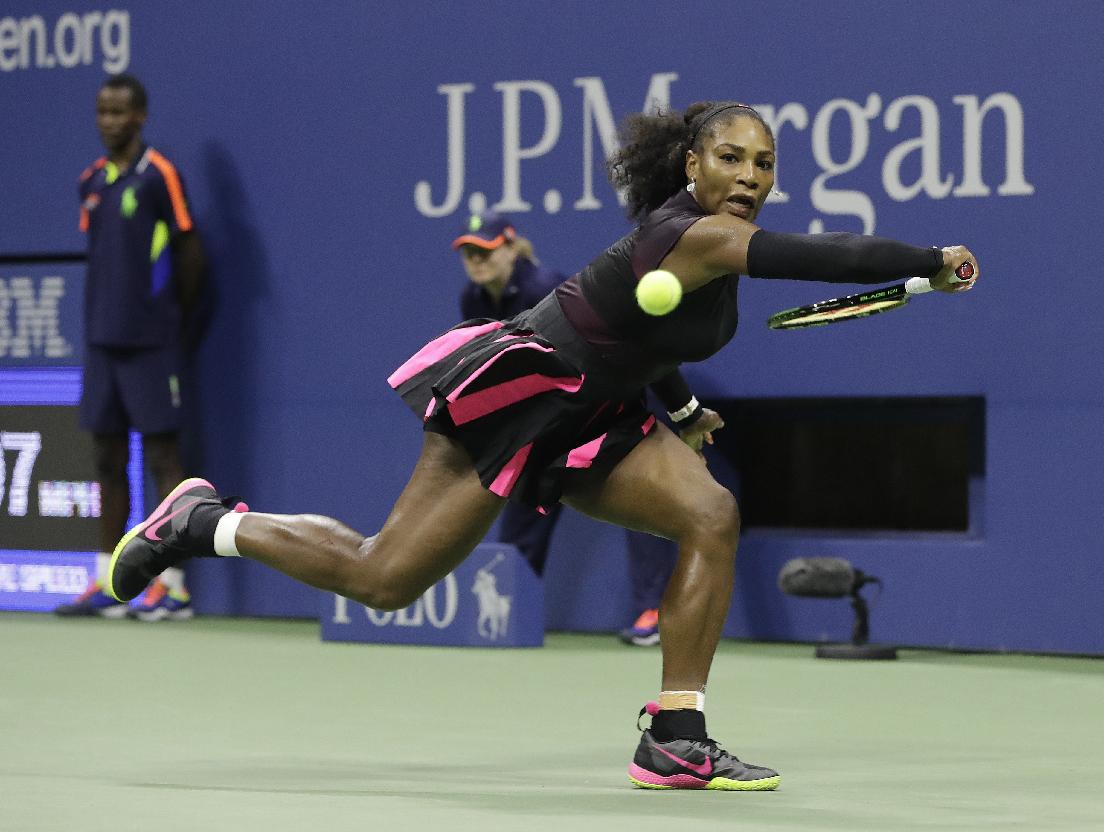 Serena Williams, of the United States, prepares to return a shot from Ekaterina Makarova, of Russia, during the first round of the U.S. Open tennis tournament, Tuesday, Aug. 30, 2016, in New York. (AP Photo/Darron Cummings)