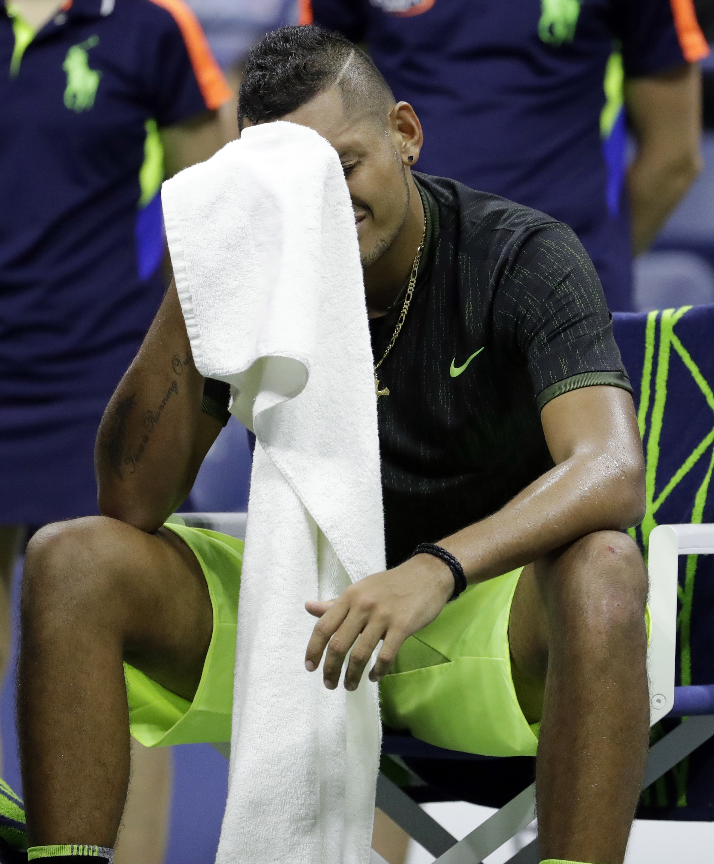 Nick Kyrgios, of Australia, sits in his chair between games against Illya Marchenko, of Ukraine, during the U.S. Open tennis tournament, Saturday, Sept. 3, 2016, in New York. (AP Photo/Julio Cortez)