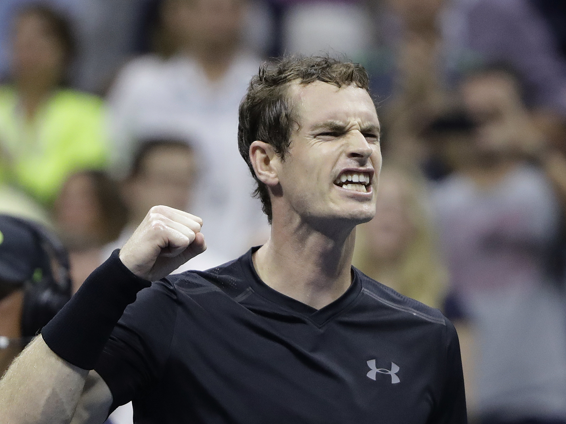 Andy Murray, of Britain, reacts after defeating Grigor Dimitrov, of Bulgaria, 6-1, 6-2, 6-2 during the U.S. Open tennis tournament, Monday, Sept. 5, 2016, in New York. (AP Photo/Darron Cummings)