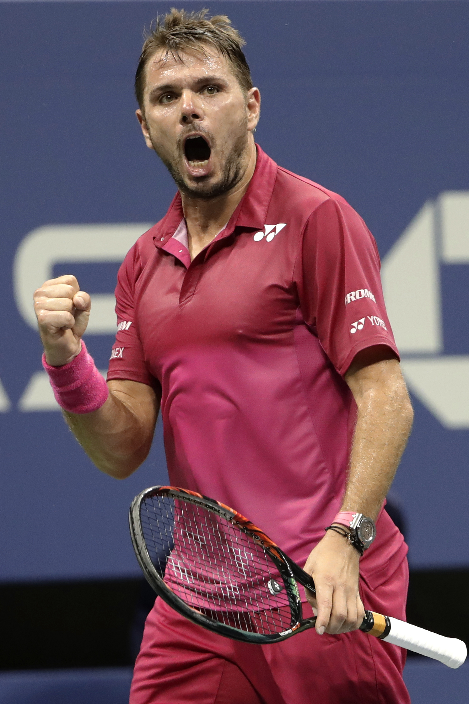 Stan Wawrinka, of Switzerland, reacts after winning a point during his match against Juan Martin del Potro, of Argentina, during the quarterfinals of the U.S. Open tennis tournament, early Thursday, Sept. 8, 2016, in New York. (AP Photo/Seth Wenig)