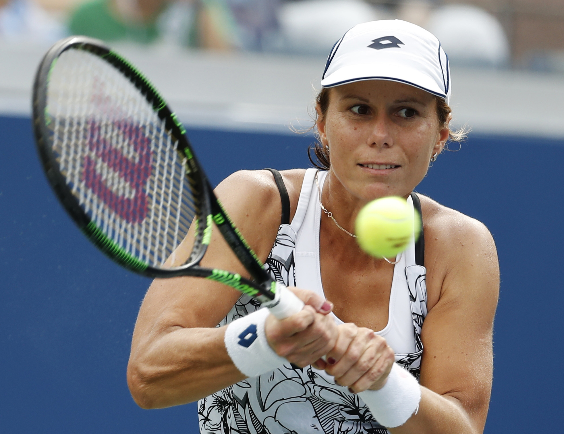 FILE - In this Sept. 3, 2016, file photo, Varvara Lepchenko, of the United States, returns a shot to Ana Konjuh, of Croatia, during the third round of the U.S. Open tennis tournament in New York. Lepchenko tested positive four times for meldonium, accordi