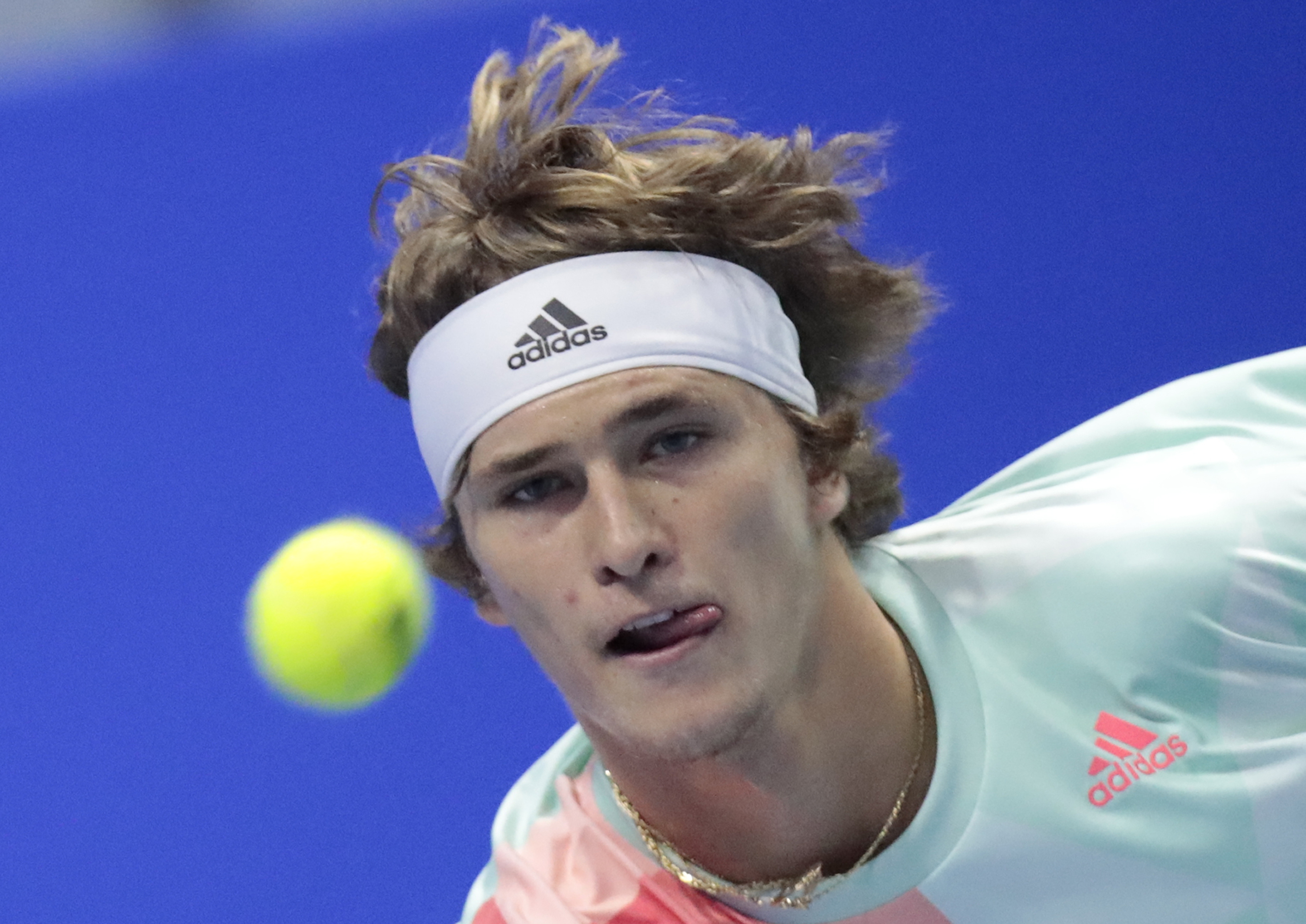 Alexander Zverev of Germany returns the ball to Tomas Berdych of Czech Republic during the St. Petersburg Open ATP tennis tournament semifinal match in St.Petersburg, Russia, Saturday, Sept. 24, 2016. (AP Photo/Dmitri Lovetsky)