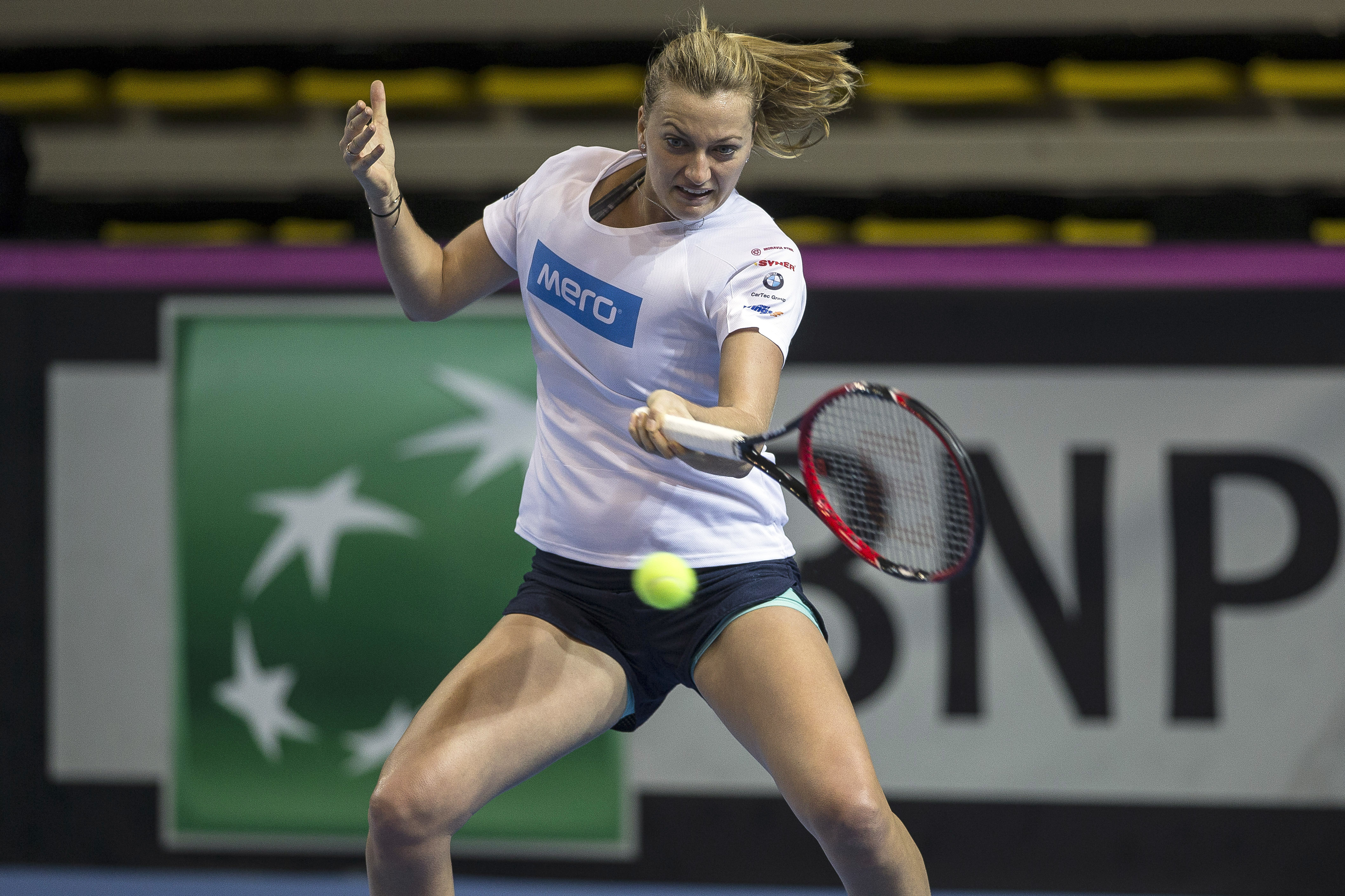 Czech Republic tennis player Petra Kvitova returns a shot during a training session on the eve of the Fed Cup Final between France and Czech Republic in Strasbourg, eastern France, Friday, Nov. 11, 2016. (AP Photo/Jean-Francois Badias)