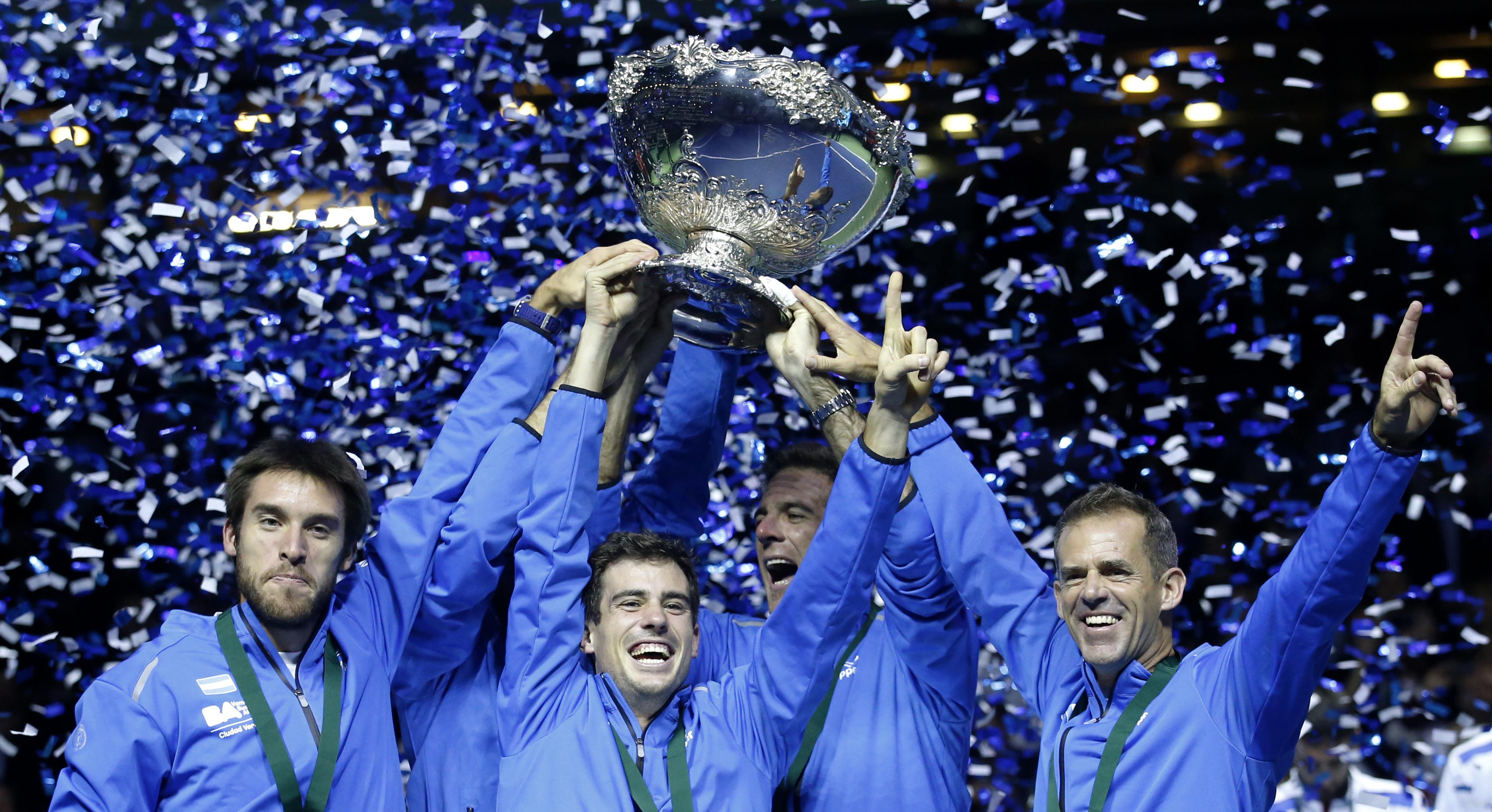 Argentina's team lifts the trophy after winning the Davis Cup final in Zagreb, Croatia, Sunday, Nov. 27, 2016. Argentina defeated Croatia 3-2 in the Davis (AP Photo/Darko Vojinovic)