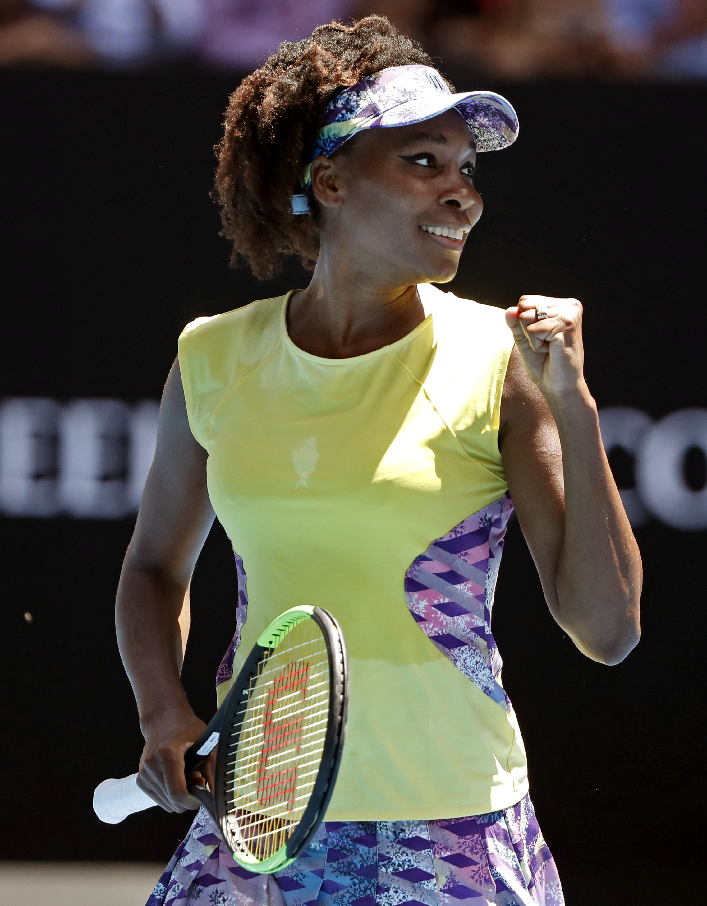 United States' Venus Williams celebrates a point win over Switzerland's Stefanie Voegele during their second round match at the Australian Open tennis championships in Melbourne, Australia, Wednesday, Jan. 18, 2017. (AP Photo/Dita Alangkara)