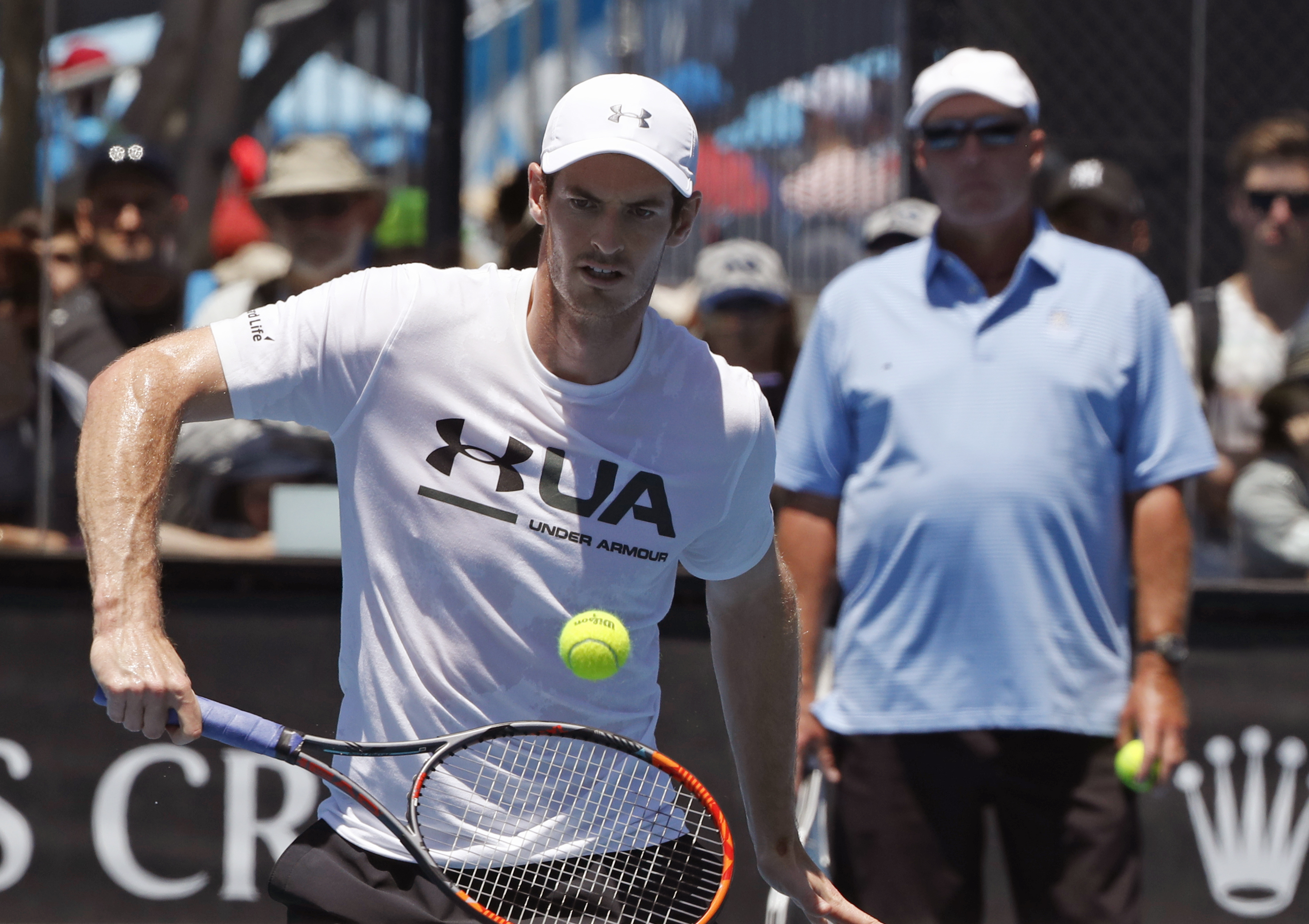 Britain's Andy Murray is watched by his coach Ivan Lendl during a practice session at the Australian Open tennis championships in Melbourne, Australia, Thursday, Jan. 19, 2017. Murray will play United States' Sam Querrey in third round match on Friday, Ja