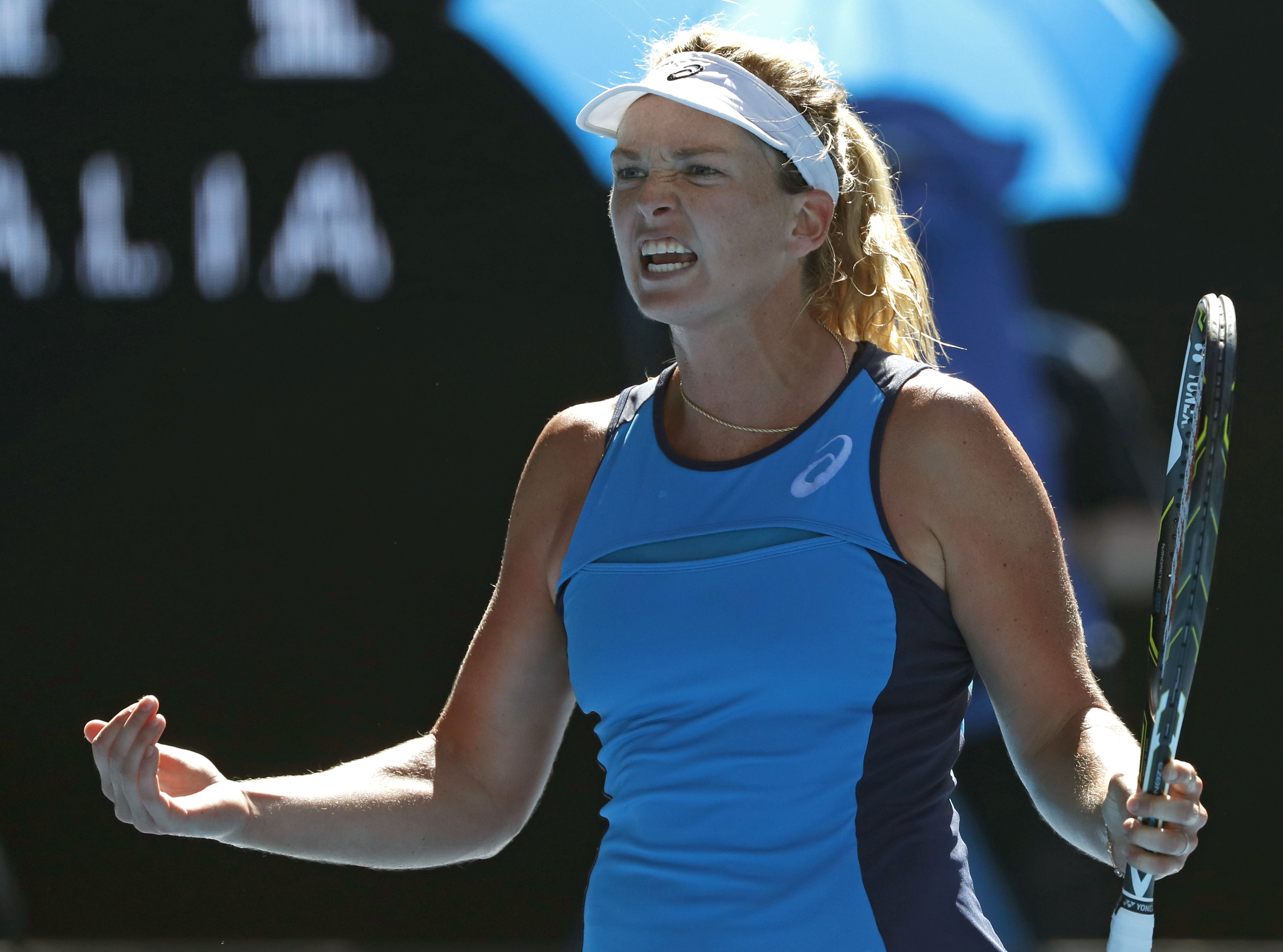 United States' Coco Vandeweghe celebrates a point win over compatriot Venus Williams during their semifinal at the Australian Open tennis championships in Melbourne, Australia, Thursday, Jan. 26, 2017. (AP Photo/Dita Alangkara)