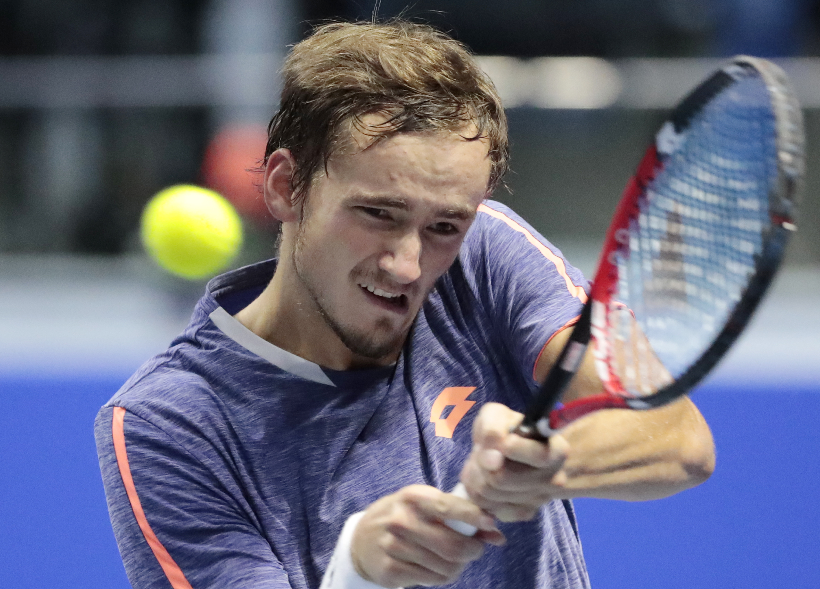 Daniil Medvedev of Russia returns the ball to Alexander Zverev of Germany during the St. Petersburg Open ATP tennis tournament match in St.Petersburg, Russia, Thursday, Sept. 22, 2016. (AP Photo/Dmitri Lovetsky)
