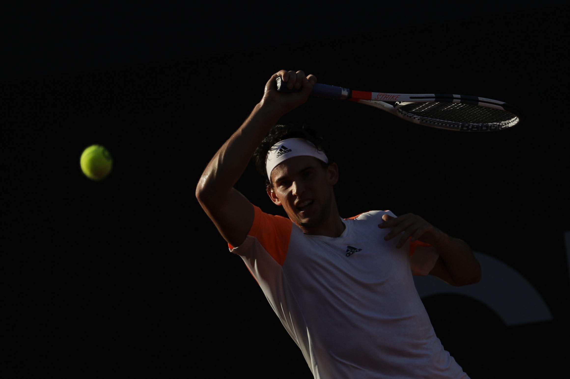 Austria's Dominic Thiem returns the ball to Argentina's Diego Schwartzman at the Rio Open tennis tournament in Rio de Janeiro, Brazil, Friday, Feb. 24, 2017. (AP Photo/Felipe Dana)