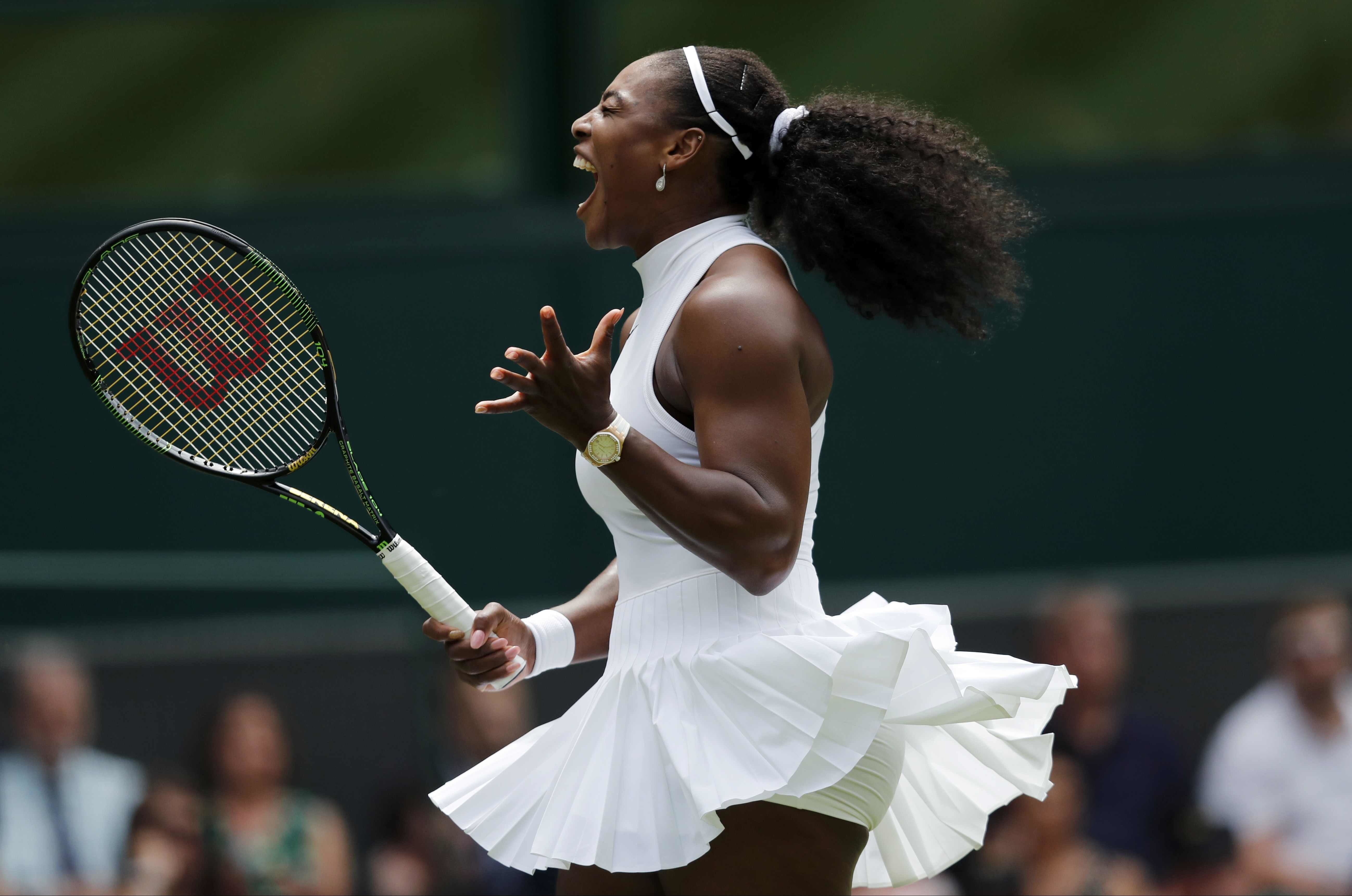 FILE - In this Tuesday, June 28, 2016 file photo Serena Williams of the U.S celebrates a point against Amara Safikovic of Switzerland during their women's singles match on day two of the Wimbledon Tennis Championships in London. (AP Photo/Ben Curtis, File