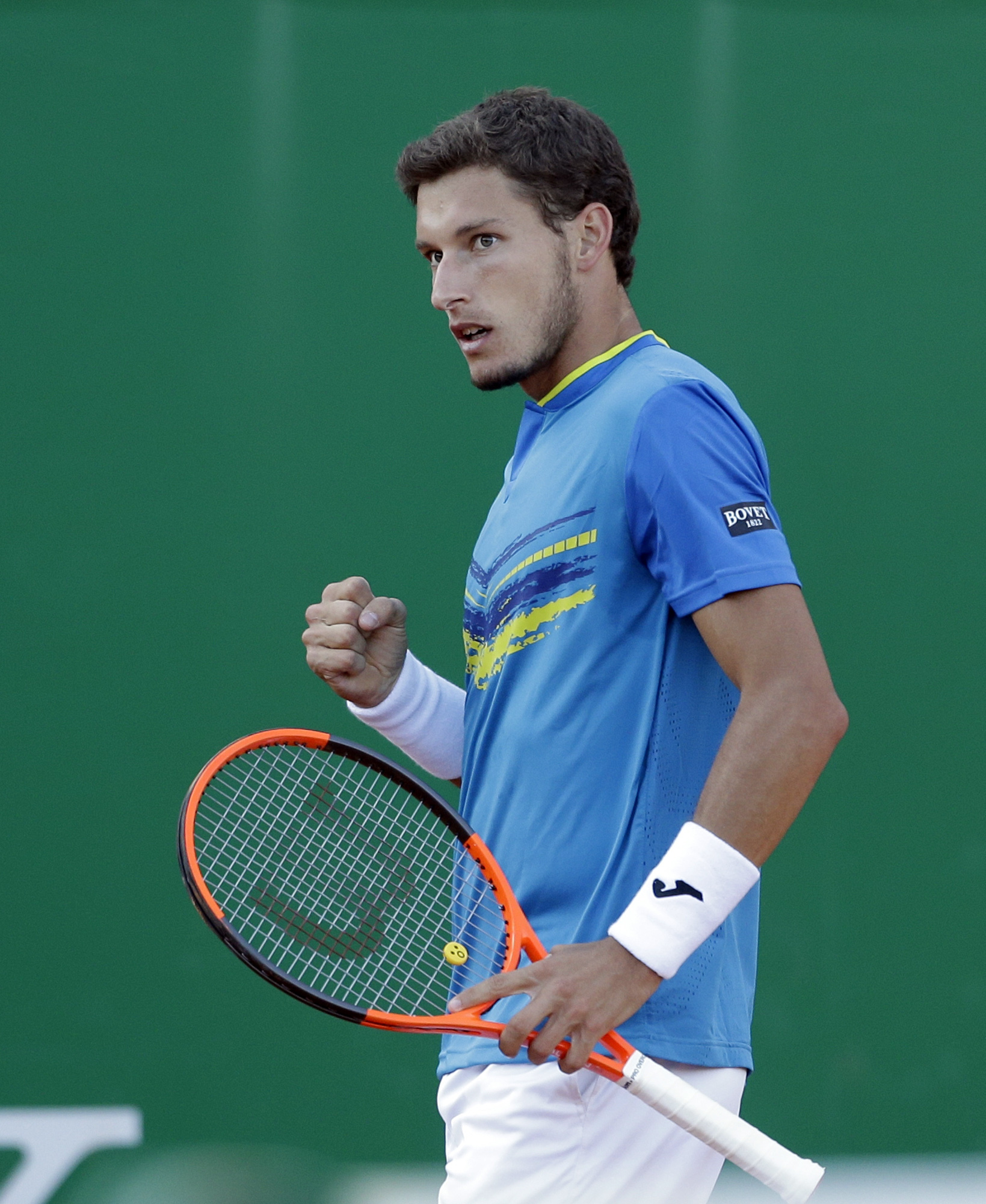 Spain's Pablo Carreno Busta reacts, during their third round match of the Monte Carlo Tennis Masters tournament against Serbia's Novak Djokovic, in Monaco, Thursday, April, 20, 2017. (AP Photo/Claude Paris)
