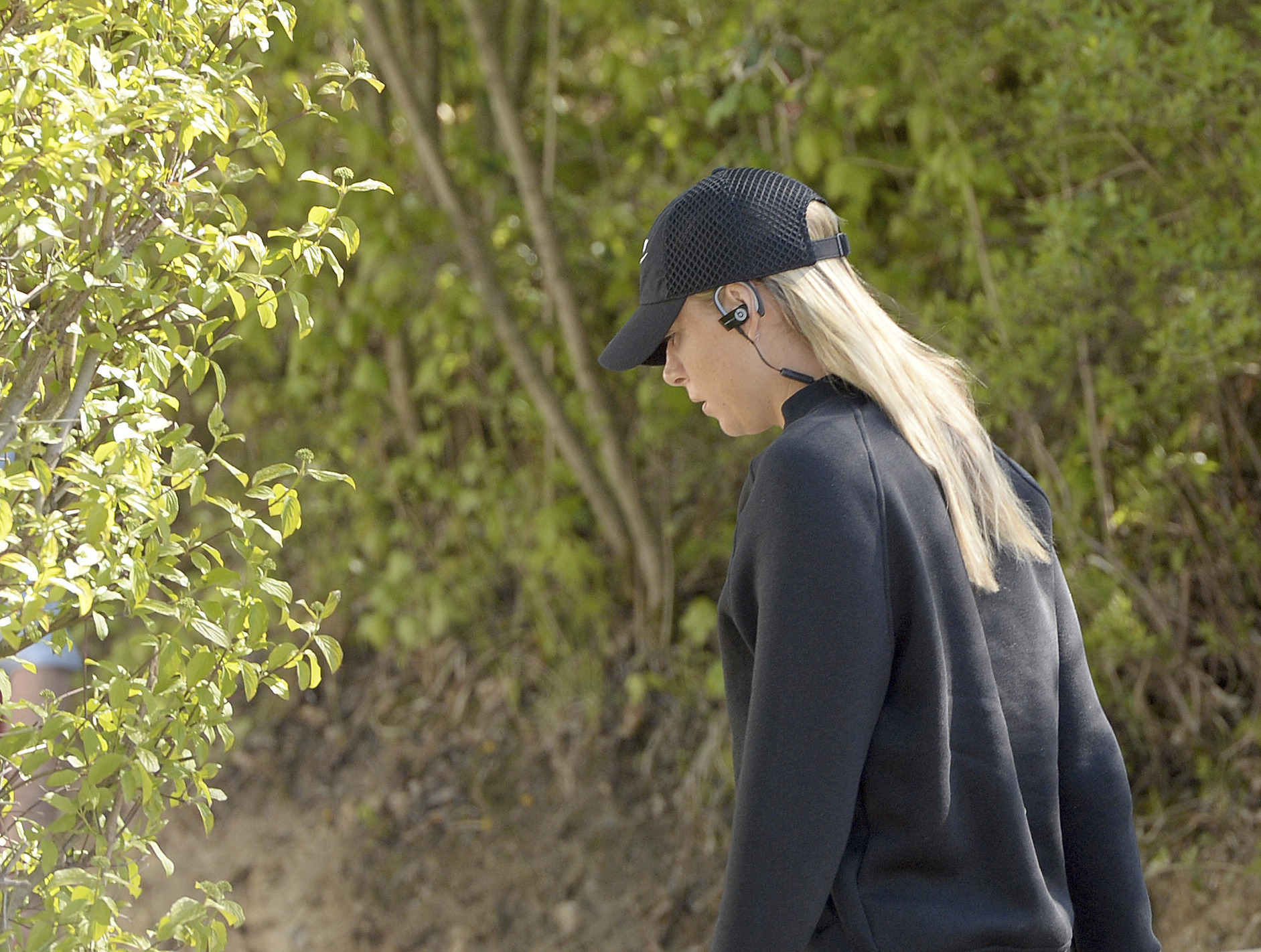 Russian tennis player Maria Sharapova is on her way to a training session after the end of her 15-month doping suspension in Stuttgart, Germany, Monday, April 24, 2017. (Bernd Weissbrod/dpa via AP)