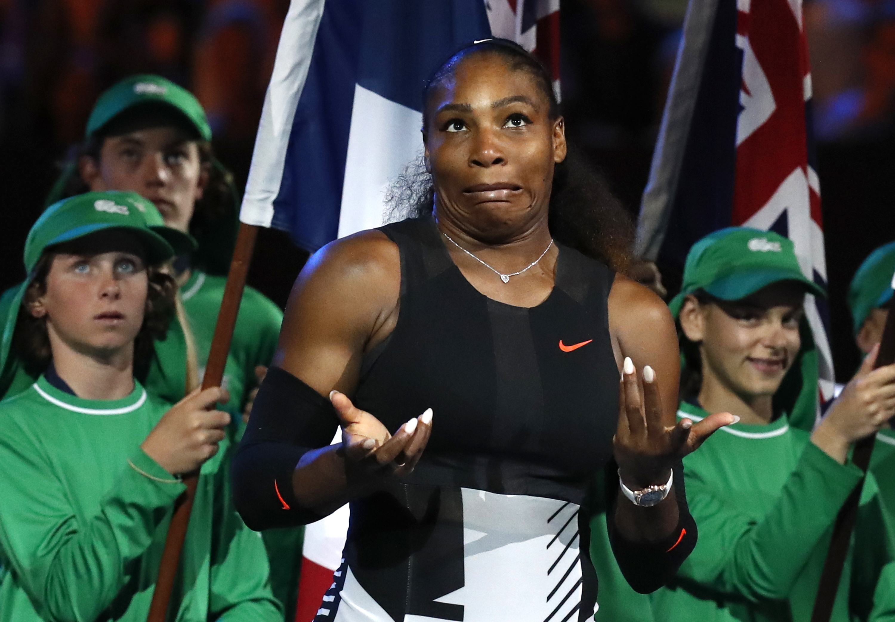 FILE - In this Jan. 28, 2017, file photo, Serena Williams reacts after defeating her sister Venus during their women's singles final at the Australian Open tennis championships in Melbourne, Australia. Williams said on April 25, 2017, at the TED2017 Confe