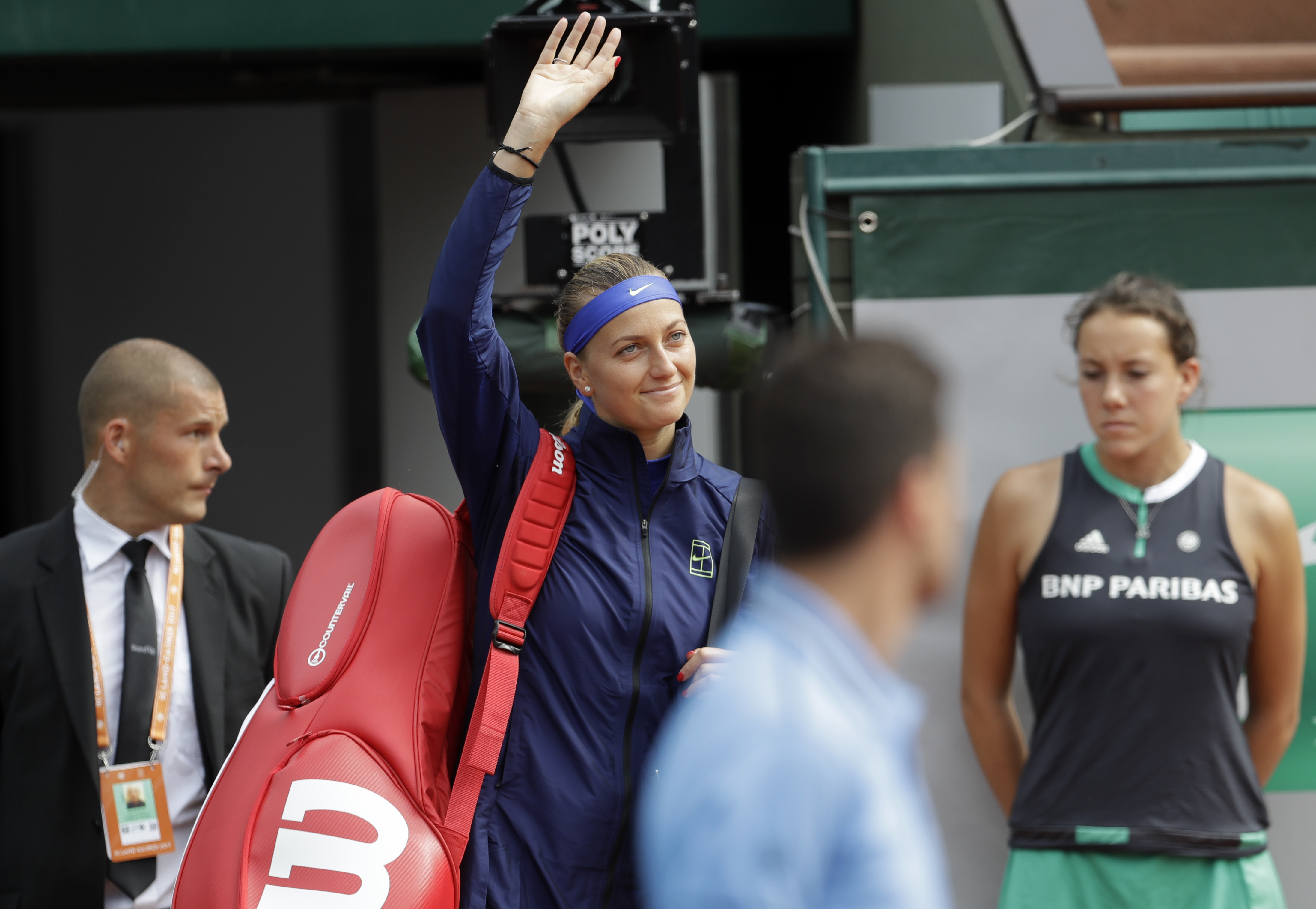 Petra Kvitova of the Czech Republic arrives to play Julia Boserup, of the U.S, for their first round match of the French Open tennis tournament at the Roland Garros stadium, Sunday, May 28, 2017 in Paris. (AP Photo/Petr David Josek)