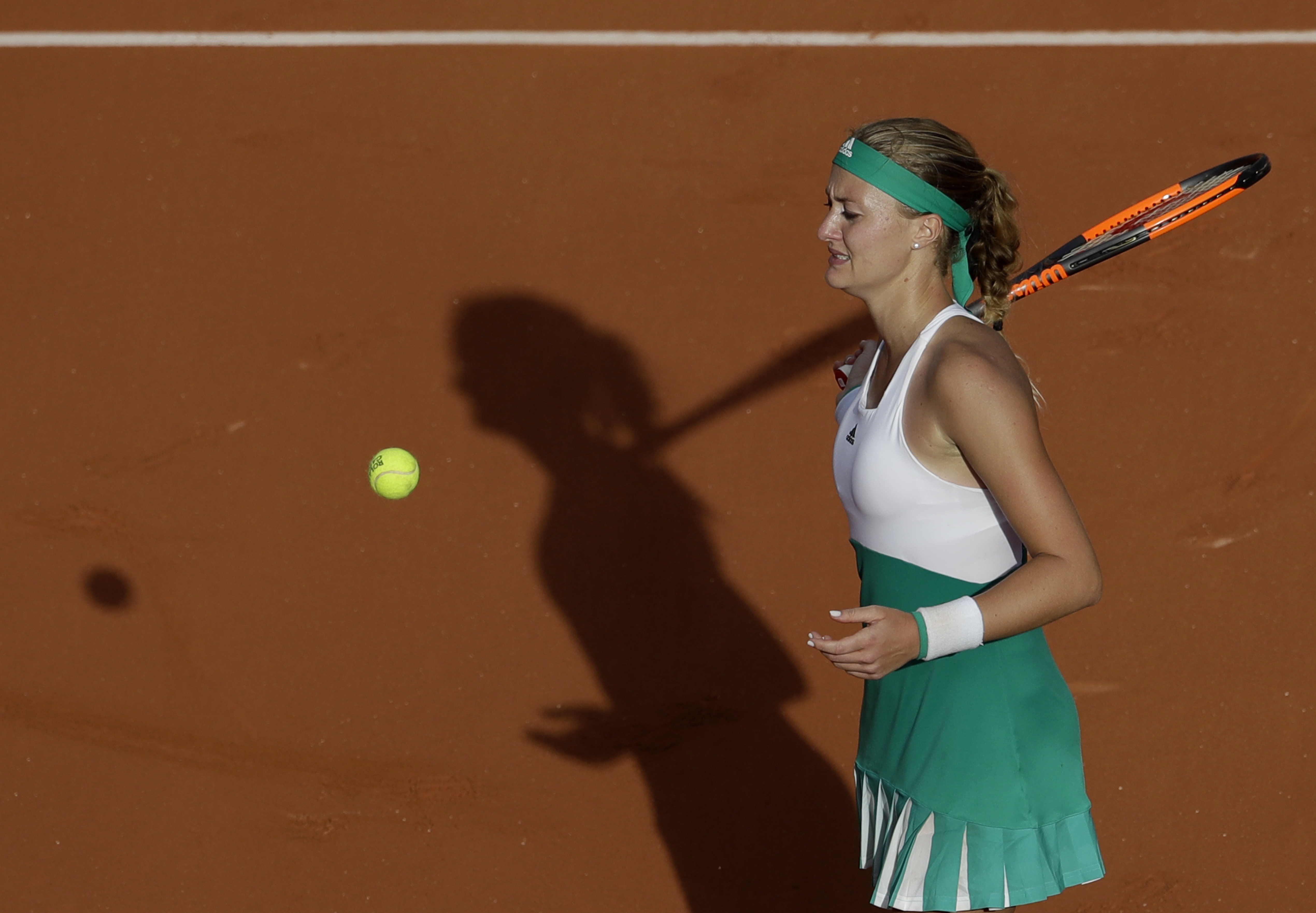 France's Kristina Mladenovic reacts as she defeats USA's Jennifer Brady in the first round of the French Open tennis tournament at the Roland Garros stadium, Monday, May 29, 2017 in Paris. (AP Photo/Petr David Josek)