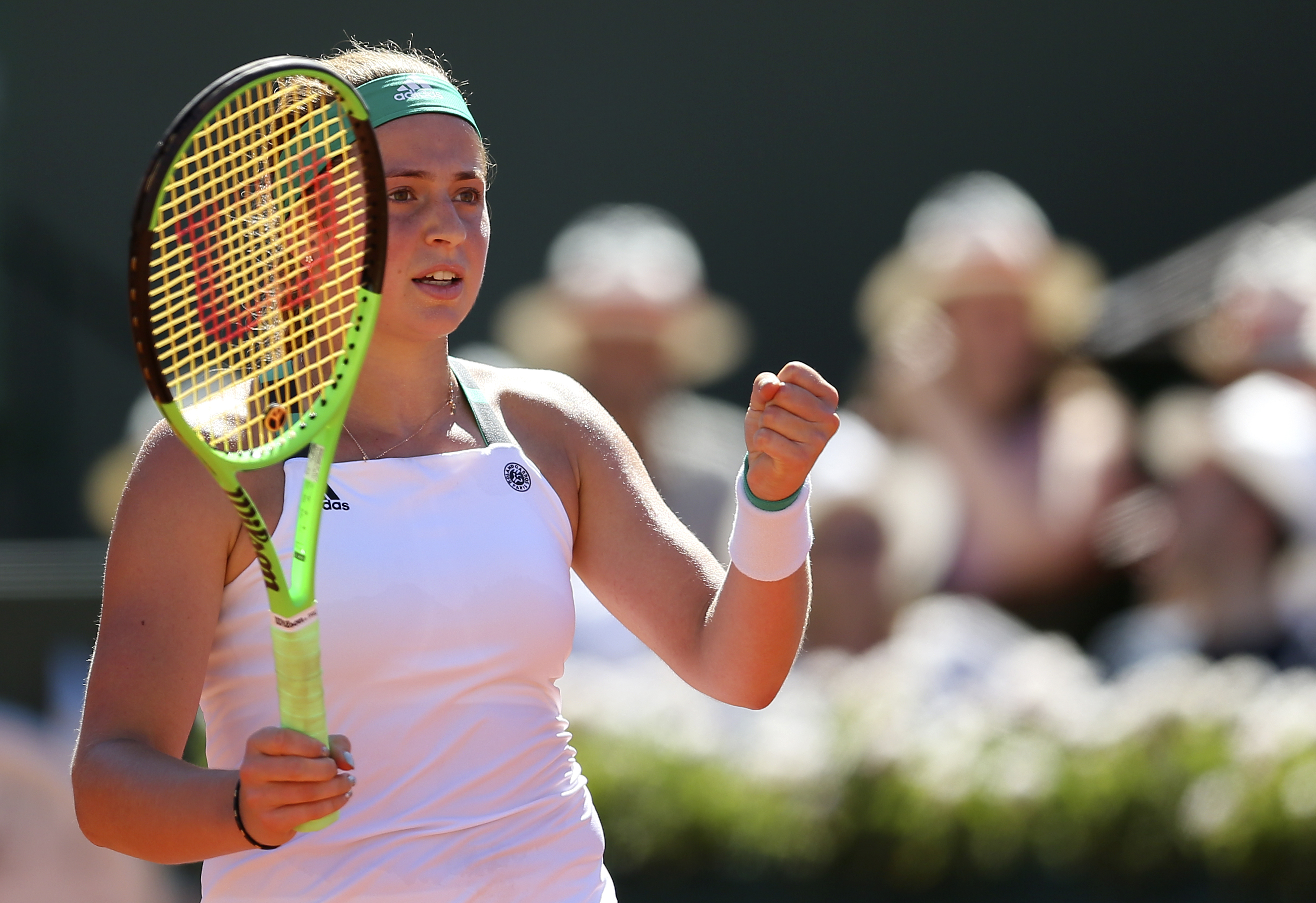 Latvia's Jelena Ostapenko celebrates winning a point as she plays Romania's Simona Halep during their final match of the French Open tennis tournament at the Roland Garros stadium, Saturday, June 10, 2017 in Paris. (AP Photo/David Vincent)