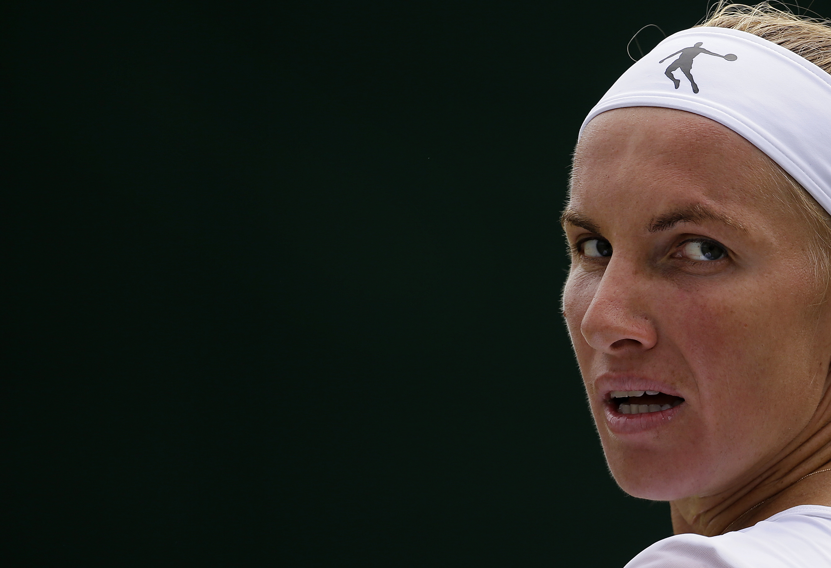 Russia's Svetlana Kuznetsova looks around as she plays Slovenia's Polona Hercog during their Women's singles match on day six at the Wimbledon Tennis Championships in London Saturday, July 8, 2017. (AP Photo/Alastair Grant)