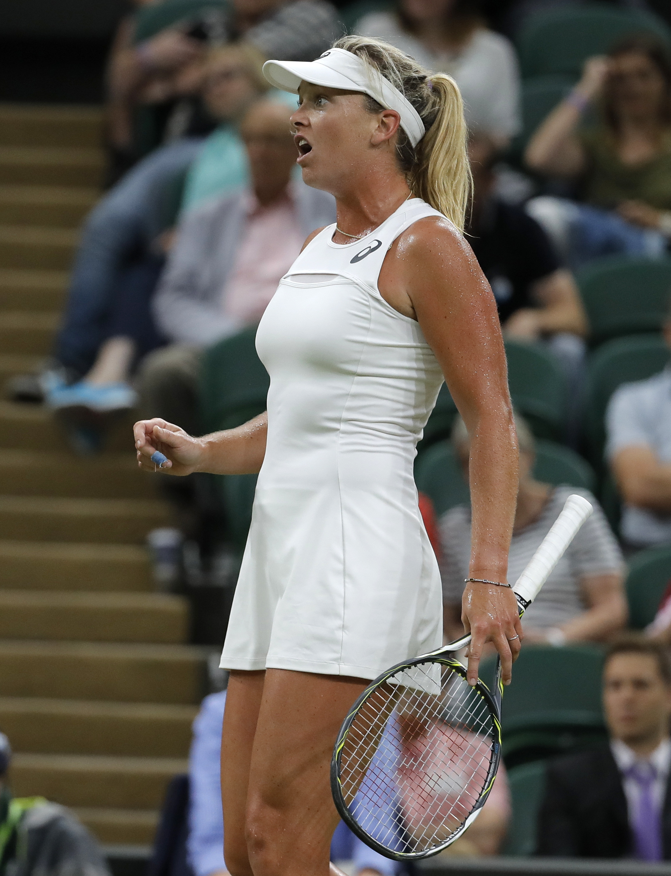 Coco Vandeweghe of the United States reacts after losing a point to Slovakia's Magdalena Rybarikova during their Women's Singles Match on day eight at the Wimbledon Tennis Championships in London Tuesday, July 11, 2017. (AP Photo/Alastair Grant)