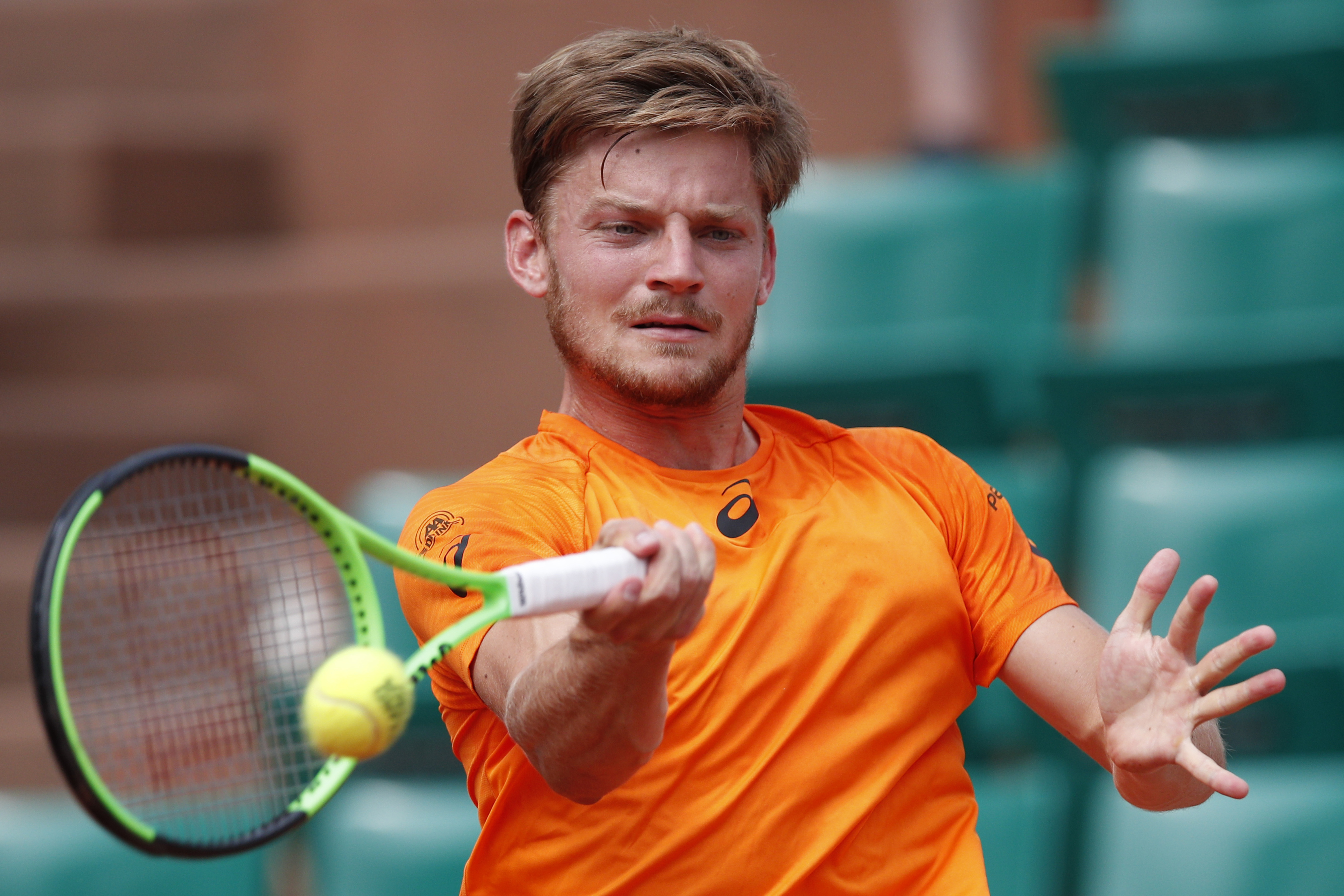 Belgium's David Goffin plays a shot against Argentina's Horacio Zeballos during their third round match of the French Open tennis tournament at the Roland Garros stadium, in Paris, France. Friday, June 2, 2017. (AP Photo/Christophe Ena)