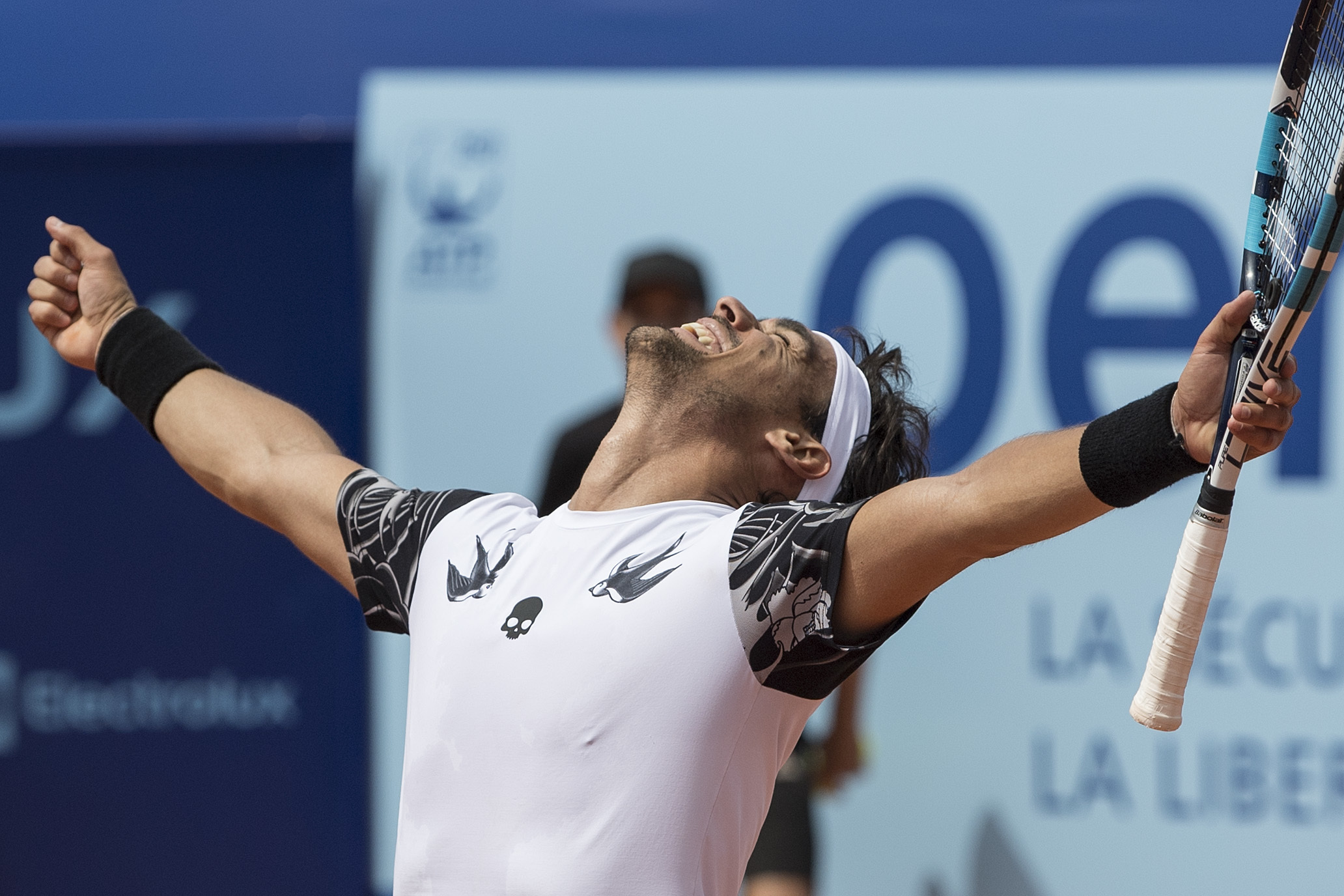 Fabio Fognini of Italy celebrates his victory after winning the final match against Yannick Hanfmann of Germany at the Swiss Open tennis tournament in Gstaad, Switzerland, Sunday, July 30, 2017. (Peter Schneider/Keystone via AP)