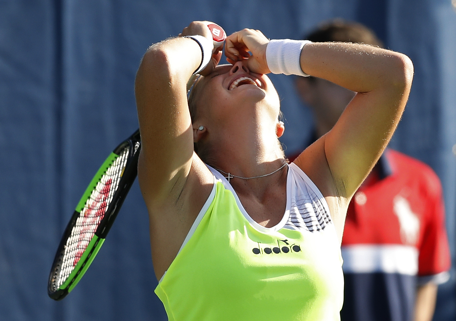 Shelby Rogers, of the United States, reacts after defeating Daria Gavrilova, of Australia, during the second round of the U.S. Open tennis tournament, Thursday, Aug. 31, 2017, in New York. (AP Photo/Adam Hunger)