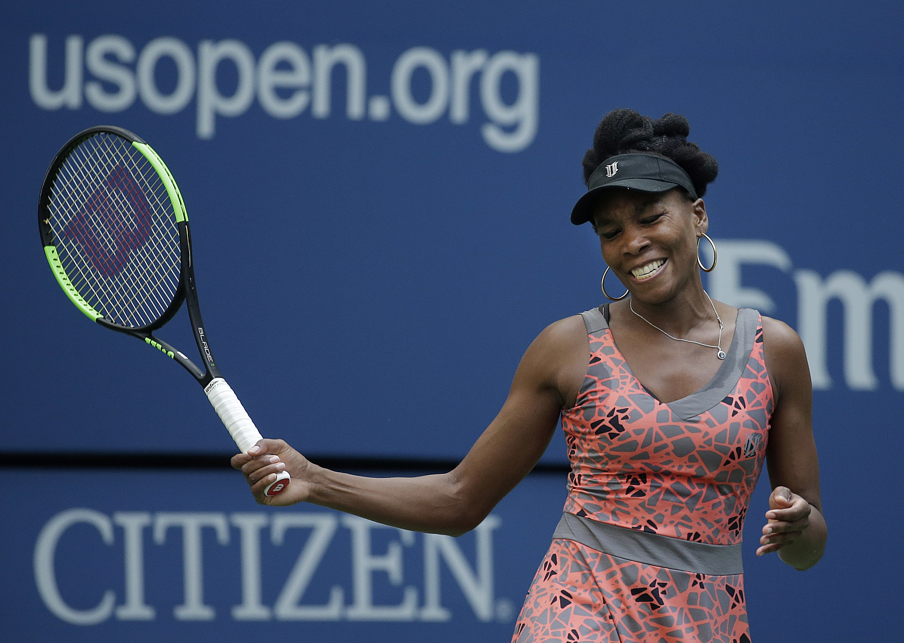 Venus Williams, of the United States, reacts after losing a point to Maria Sakkari, of Greece, during the third round of the U.S. Open tennis tournament, Friday, Sept. 1, 2017, in New York. (AP Photo/Seth Wenig)