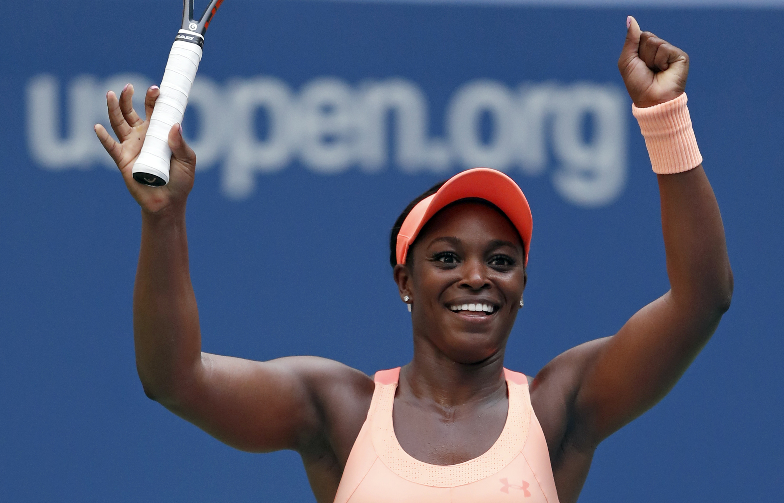 Sloane Stephens, of the United States, reacts after beating Anastasija Sevastova, of Latvia, during the quarterfinals of the U.S. Open tennis tournament, Tuesday, Sept. 5, 2017, in New York. (AP Photo/Adam Hunger)