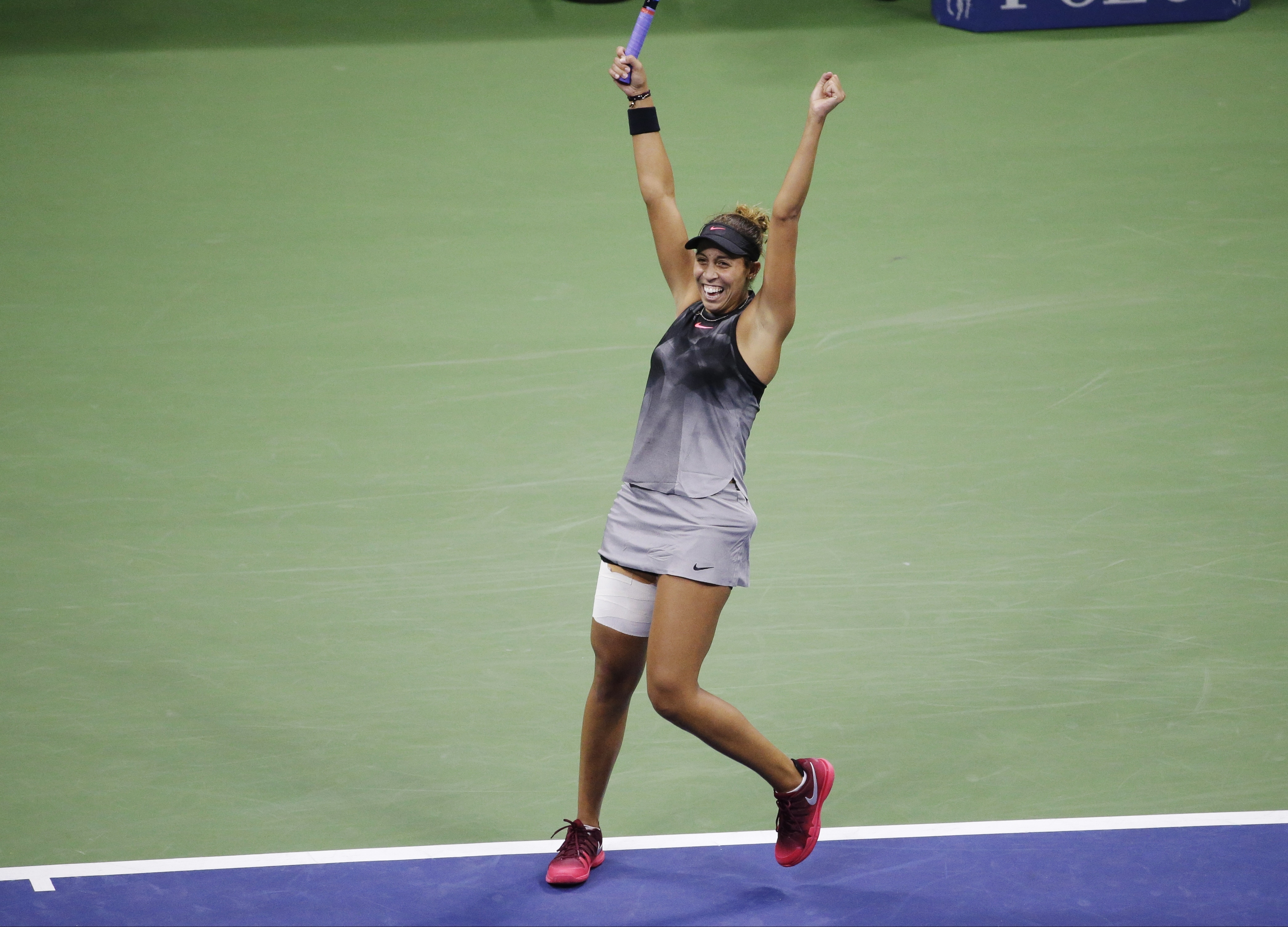 Madison Keys, of the United States, reacts after defeating CoCo Vandeweghe, of the United States, during the semifinals of the U.S. Open tennis tournament, Thursday, Sept. 7, 2017, in New York. (AP Photo/Seth Wenig)