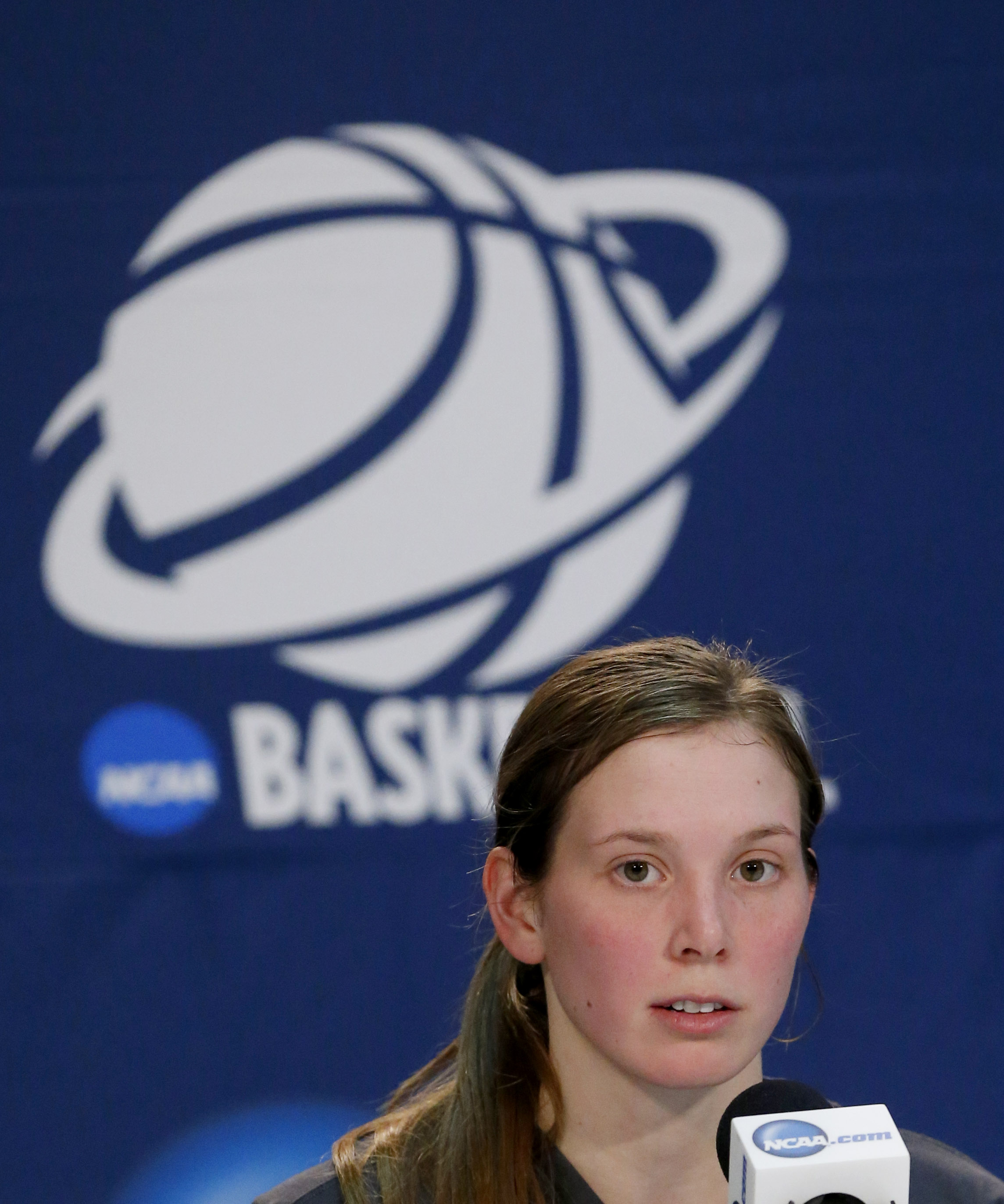 Notre Dame guard Madison Cable listens during a news conference after a women's college basketball regional final game against Baylor in the NCAA Tournament, Sunday, March 29, 2015, in Oklahoma City. (AP Photo/Sue Ogrocki)