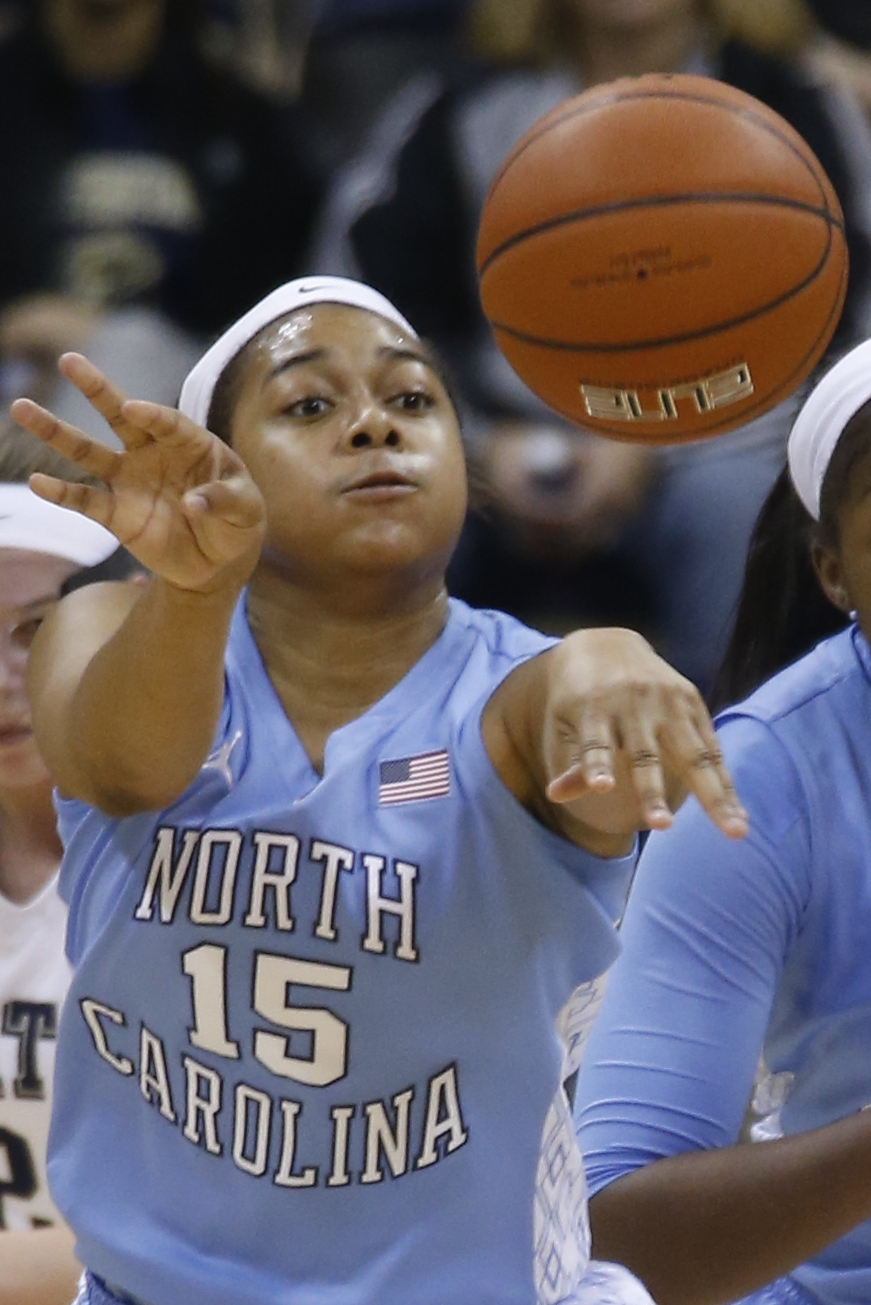 North Carolina guard Allisha Gray (15) plays in an NCAA college basketball game between Pittsburgh and North Carolina on Thursday, Jan. 8, 2015, in Pittsburgh. (AP Photo/Keith Srakocic)
