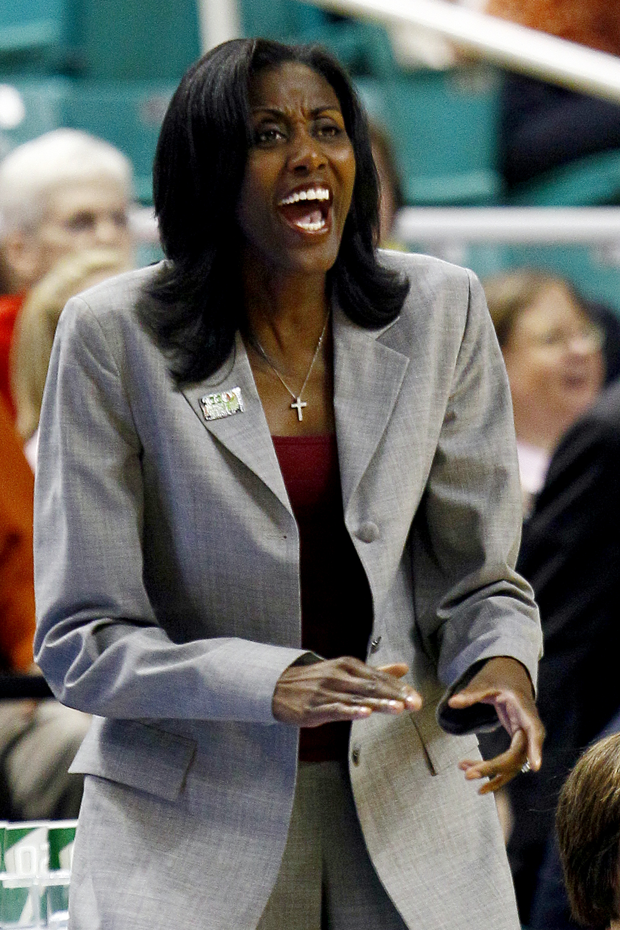 Boston College coach Sylvia Crawley yells during the first half of a first round NCAA college women's Atlantic Coast Conference basketball tournament game against Virginia in Greensboro, N.C., Thursday, March 1, 2012. Virginia won 72-41. (AP Photo/Gerry B