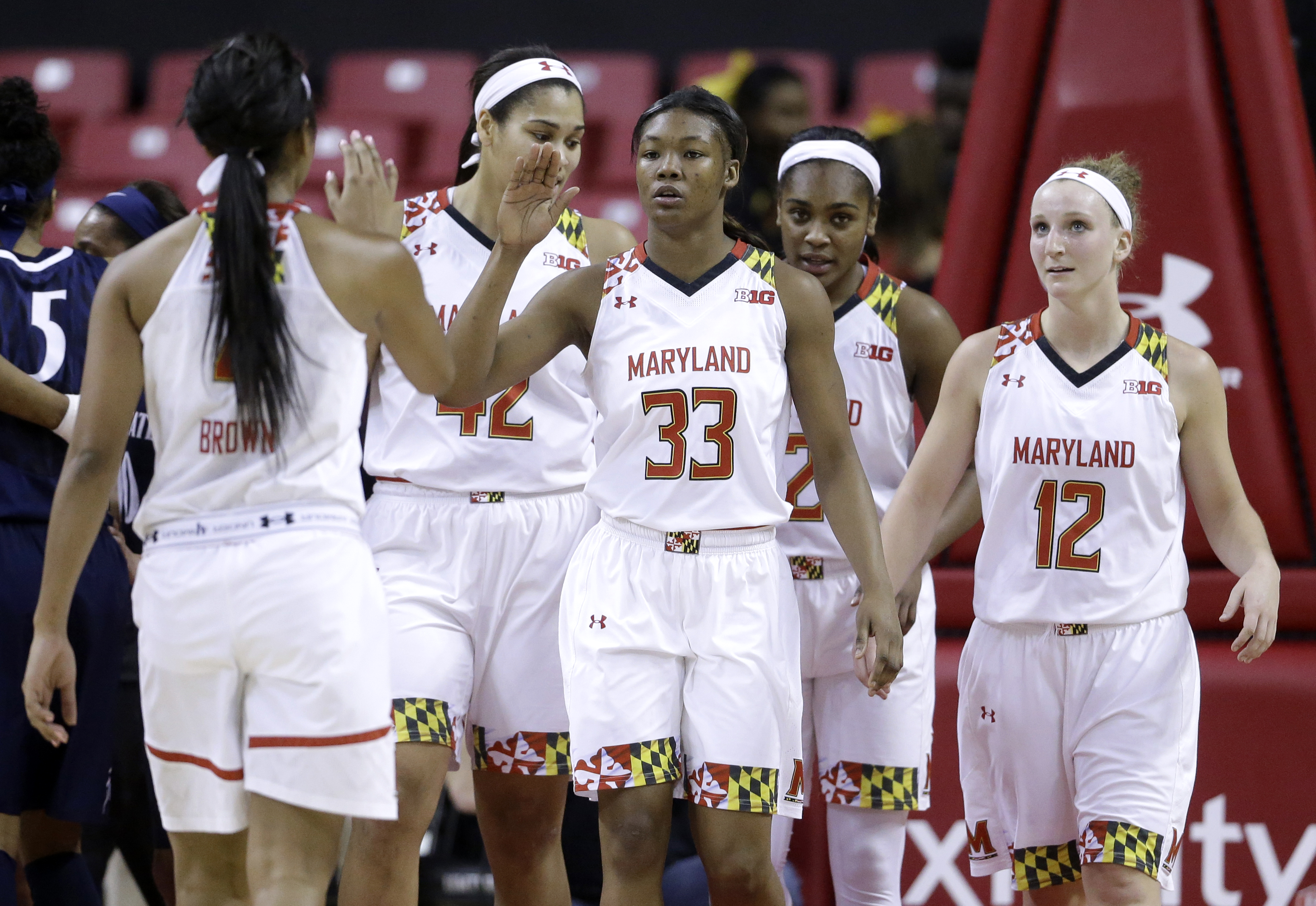 Maryland forward A'Lexus Harrison (33) high-fives teammate Lexie Brown in the first half of an NCAA college basketball game against Penn State, Monday, Feb. 23, 2015, in College Park, Md. (AP Photo/Patrick Semansky)