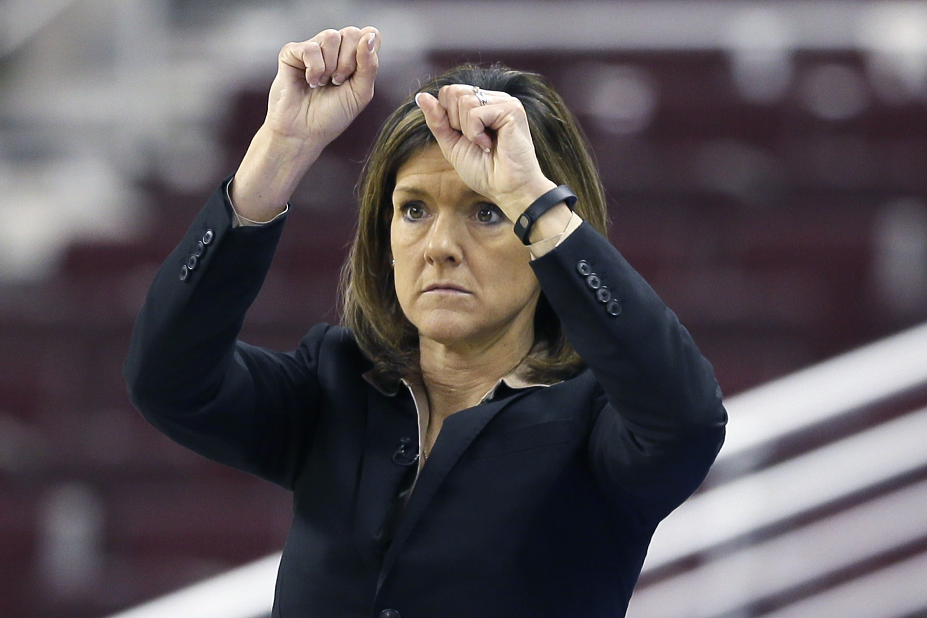 Missouri coach Robin Pingeton watches the second half of a Southeastern Conference women's tournament NCAA college basketball against Georgia game in North Little Rock, Ark., Thursday, March 5, 2015. Georgia defeated Missouri 75-64. (AP Photo/Danny Johnst