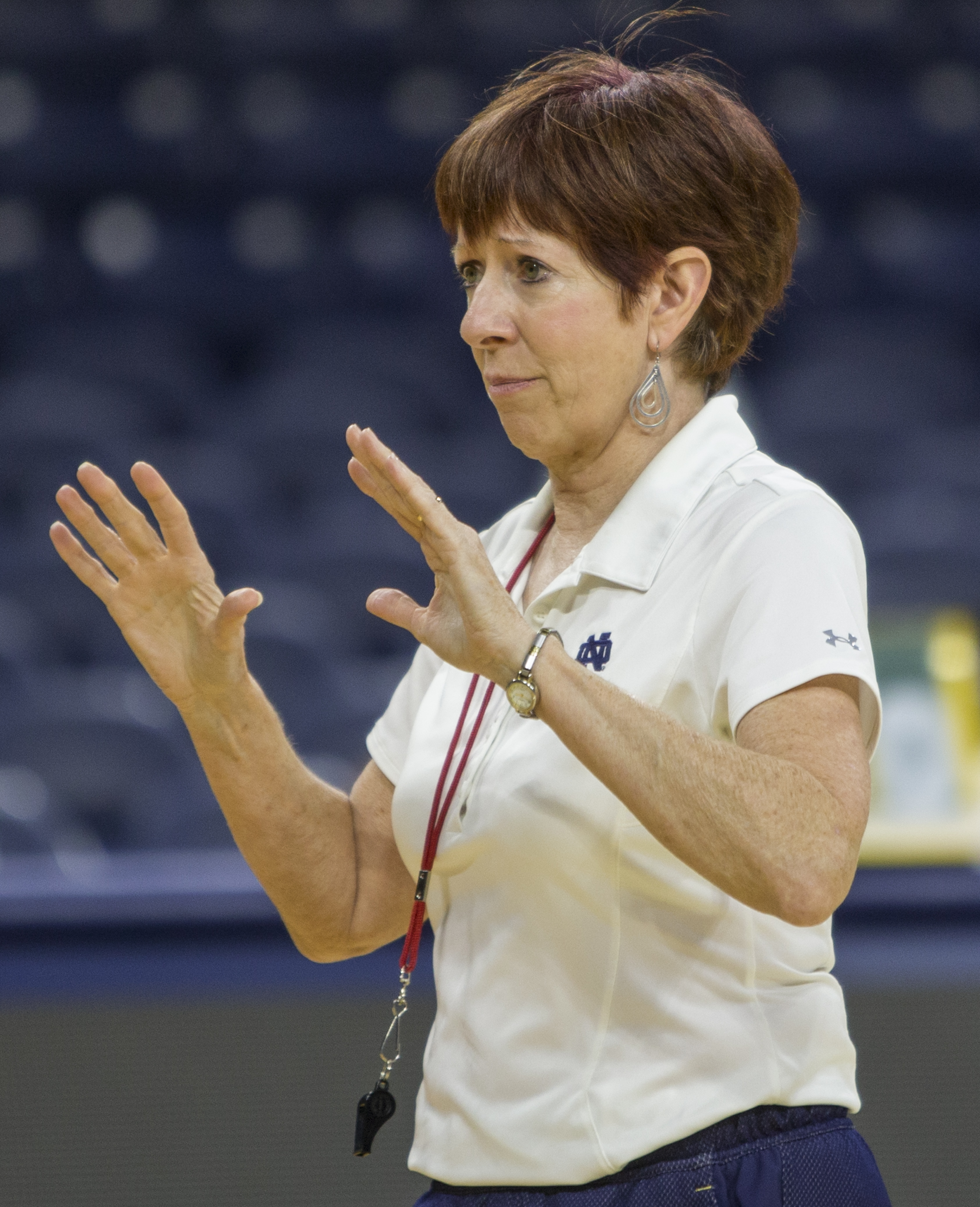 Notre Dame women's basketball head coach Muffet McGraw runs an NCAA college basketball practice during Media Day, Monday, Oct. 12, 2015, in South Bend, Ind. (Robert Franklin/South Bend Tribune via AP) MANDATORY CREDIT