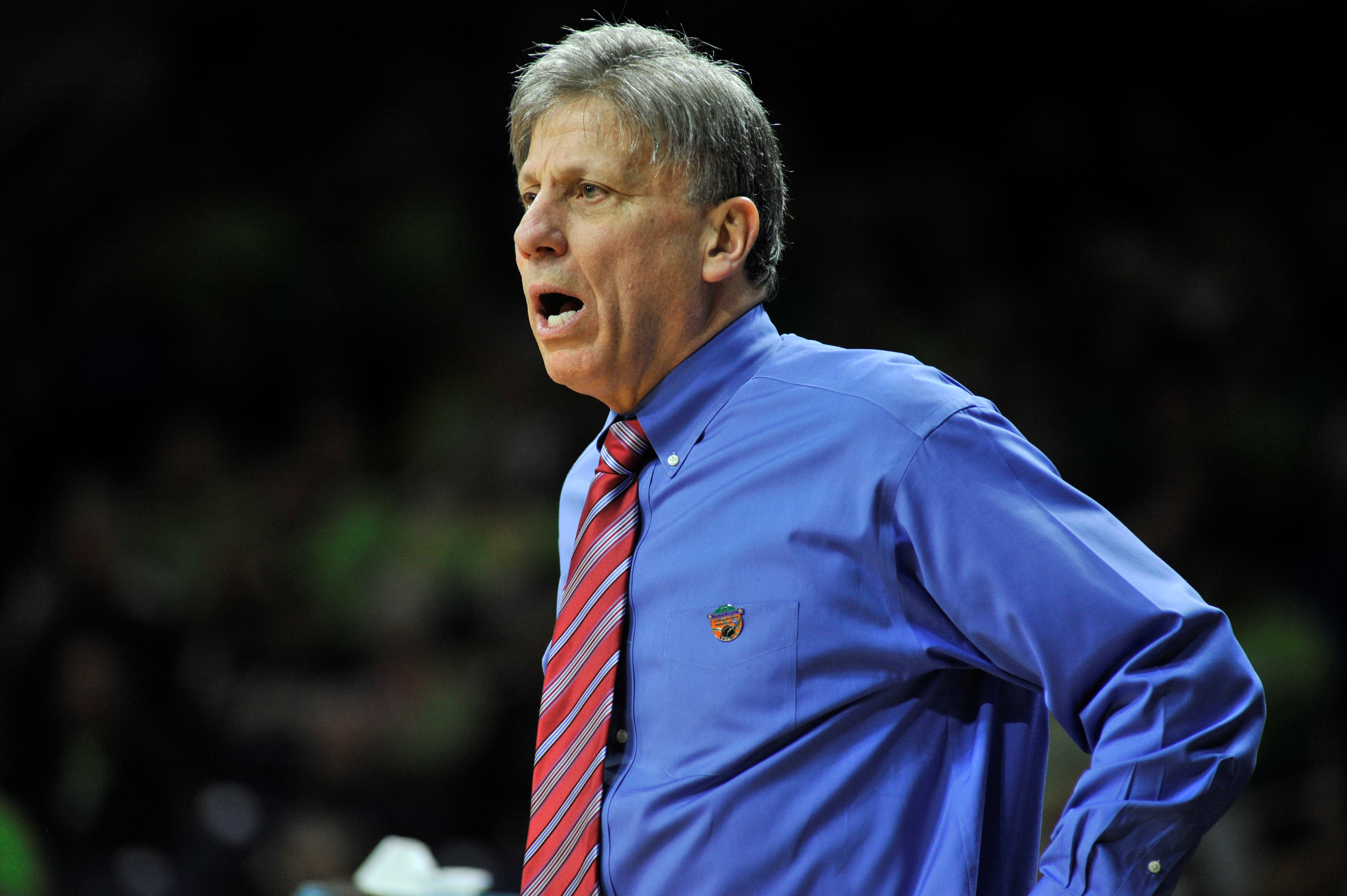 DePaul coach Doug Bruno reacts in the second half of a women's college basketball game against Minnesota in the first round of the NCAA tournament in South Bend, Ind., Friday, March 20, 2015.   (AP Photo/Joe Raymond)