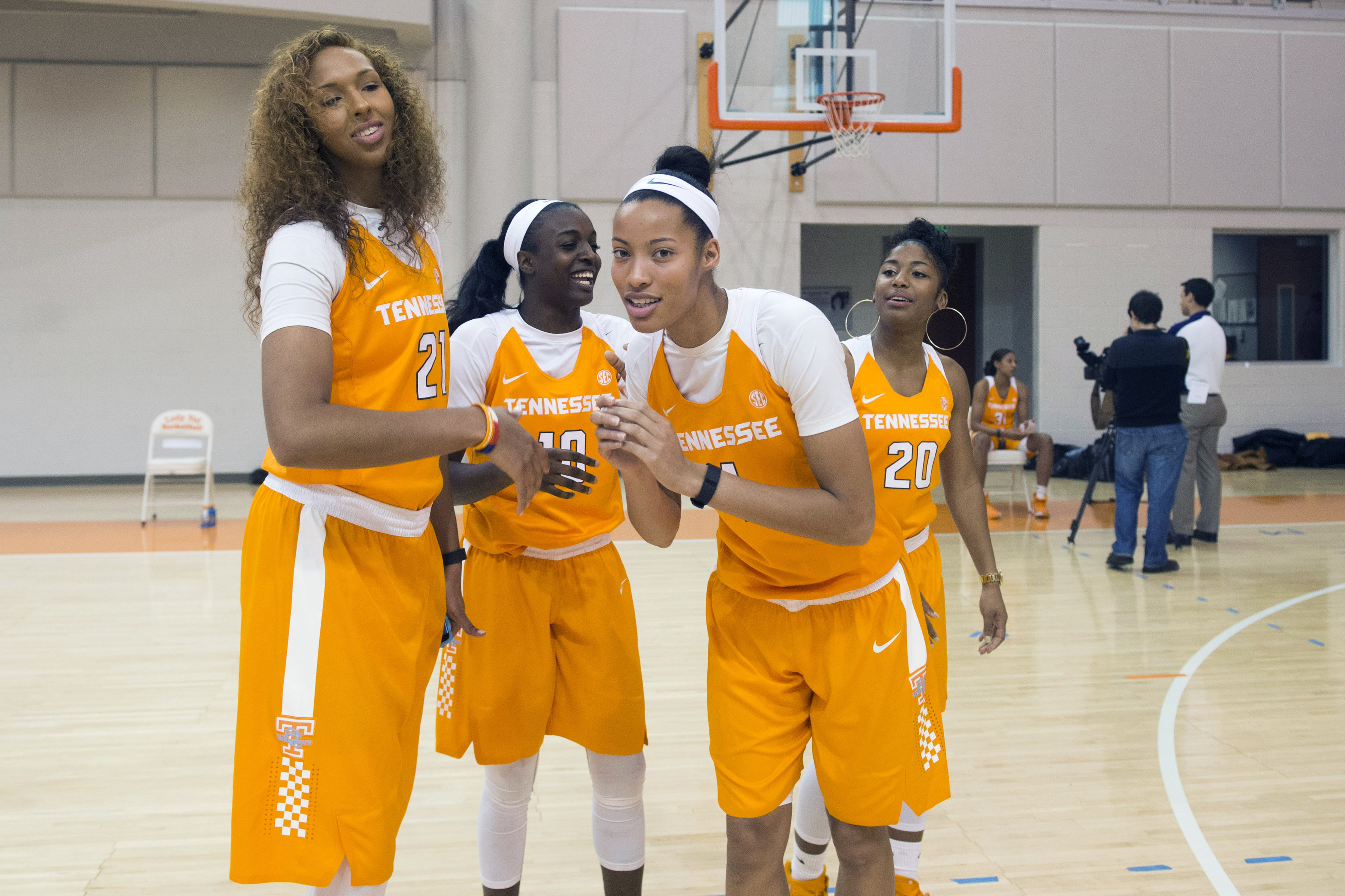 Tennessee Mercedes Russell, left, Meme Jackson, Nia Moore, and Te'a Cooper pose during NCAA college basketball media day, Tuesday, Oct. 27, 2015, in Knoxville, Tenn. (Saul Young/Knoxville News Sentinel via AP) MANDATORY CREDIT