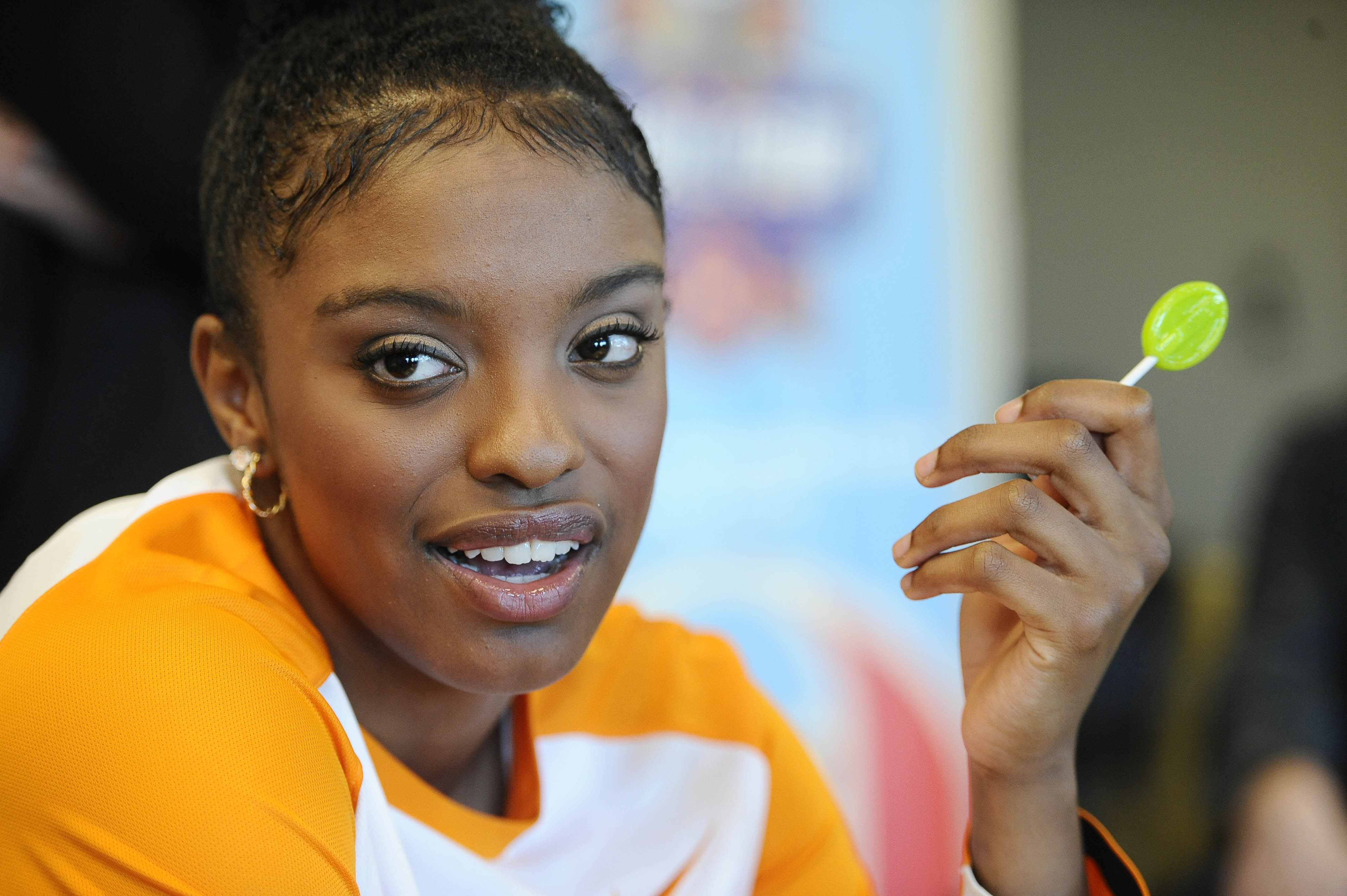 Tennessee's Diamond DeShields is interviewed during an NCAA women's basketball media day at ESPN, Tuesday, Nov. 3, 2015, in Bristol, Conn. (AP Photo/Jessica Hill)