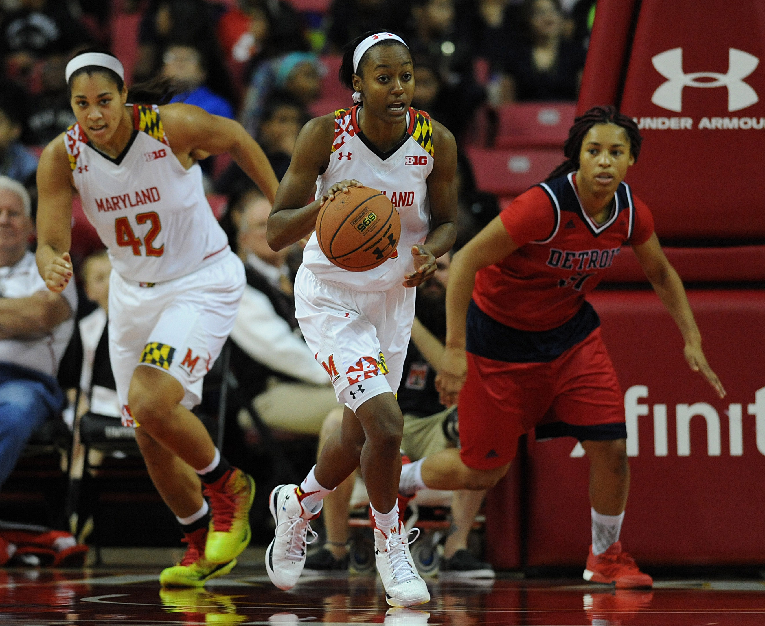 Maryland's Shatori Walker-Kimbrough, center, runs the ball against Detroit in the second half of a NCAA college basketball game, Friday, Nov. 20, 2015 in College Park, Md.(AP Photo/Gail Burton)