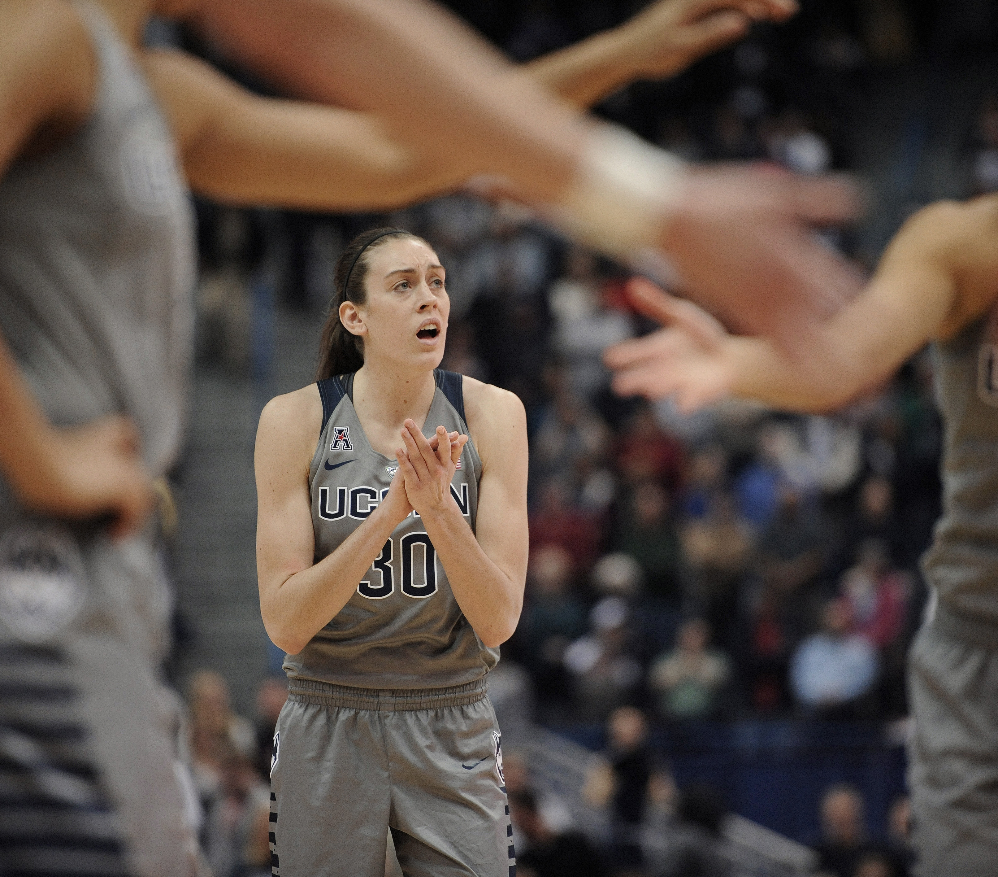 FILE - In this Nov. 28, 2015, file photo, Connecticut's Breanna Stewart reacts during the first half of an NCAA college basketball game, in Hartford, Conn. Two-time national player of the year Breanna Stewart takes seriously her role as a mentor to the Hu