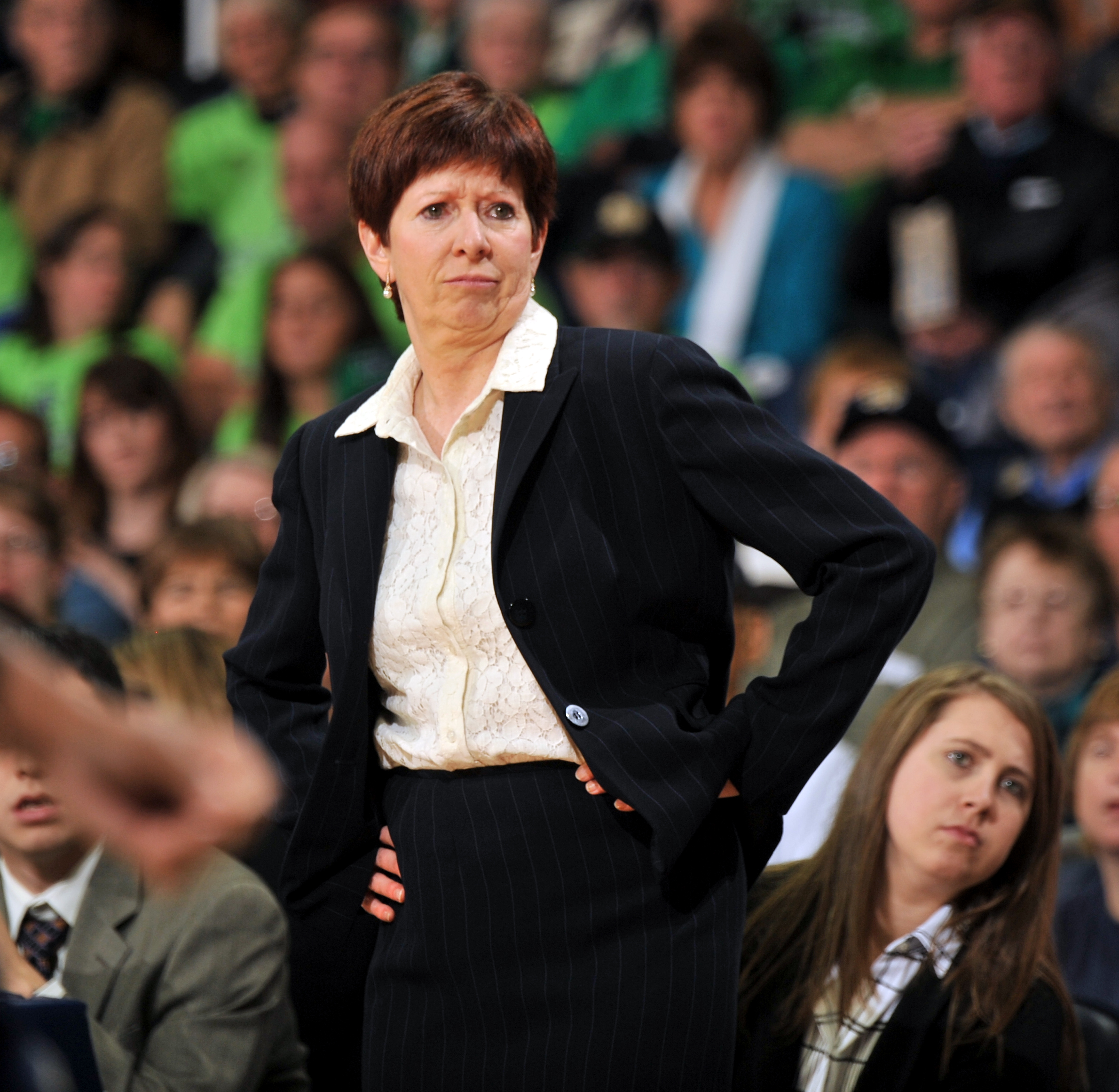 Notre Dame coach Muffet McGraw reacts in the second half of an NCAA college basketball game against Georgia Tech, Wednesday, Dec. 30, 2015, in South Bend, Ind. (AP Photo/Joe Raymond)