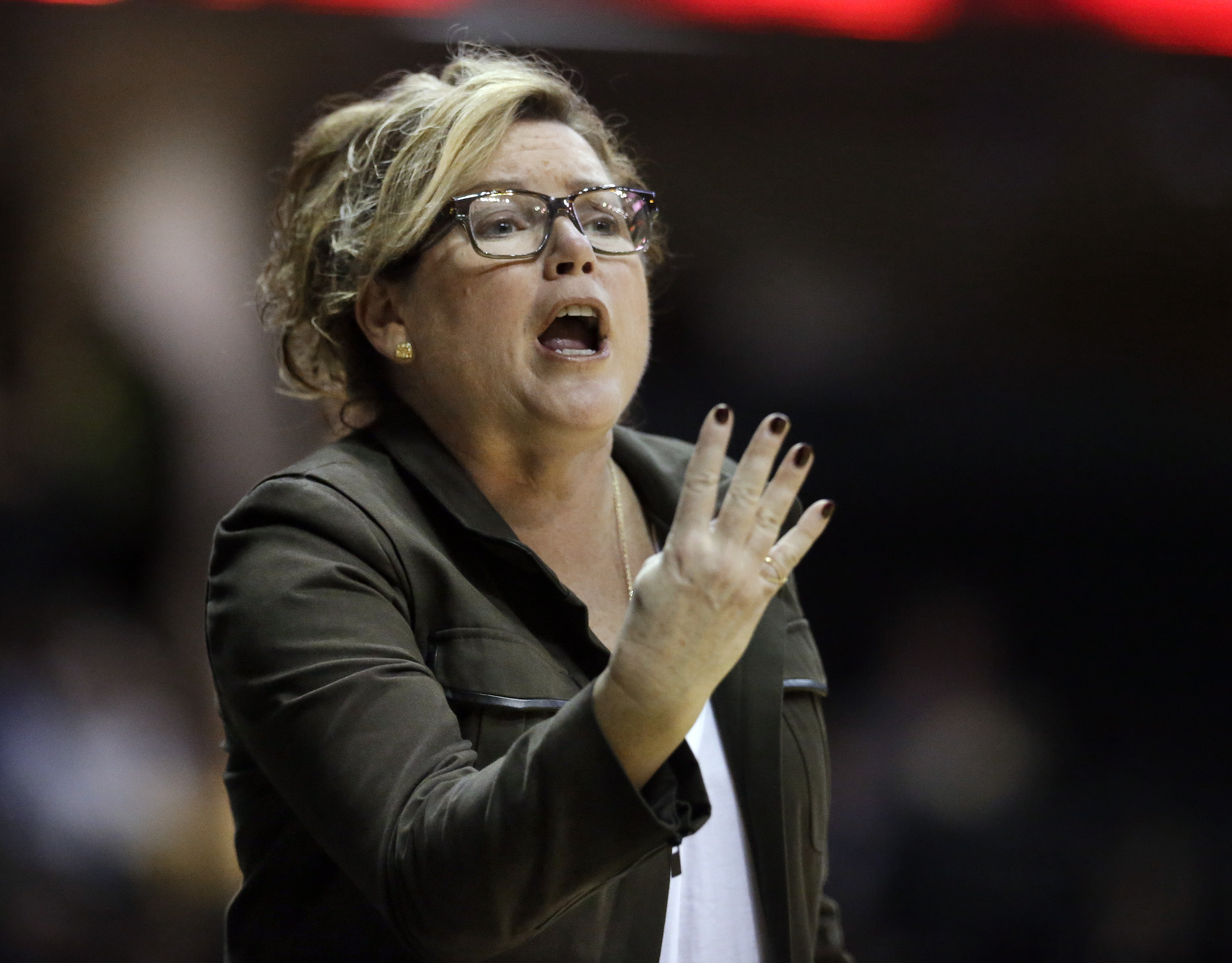 Vanderbilt coach Melanie Balcomb yells to her team during the second half of an NCAA college basketball game against South Carolina on Thursday, Jan. 7, 2016, in Nashville, Tenn. South Carolina won 71-61. (AP Photo/Mark Humphrey)